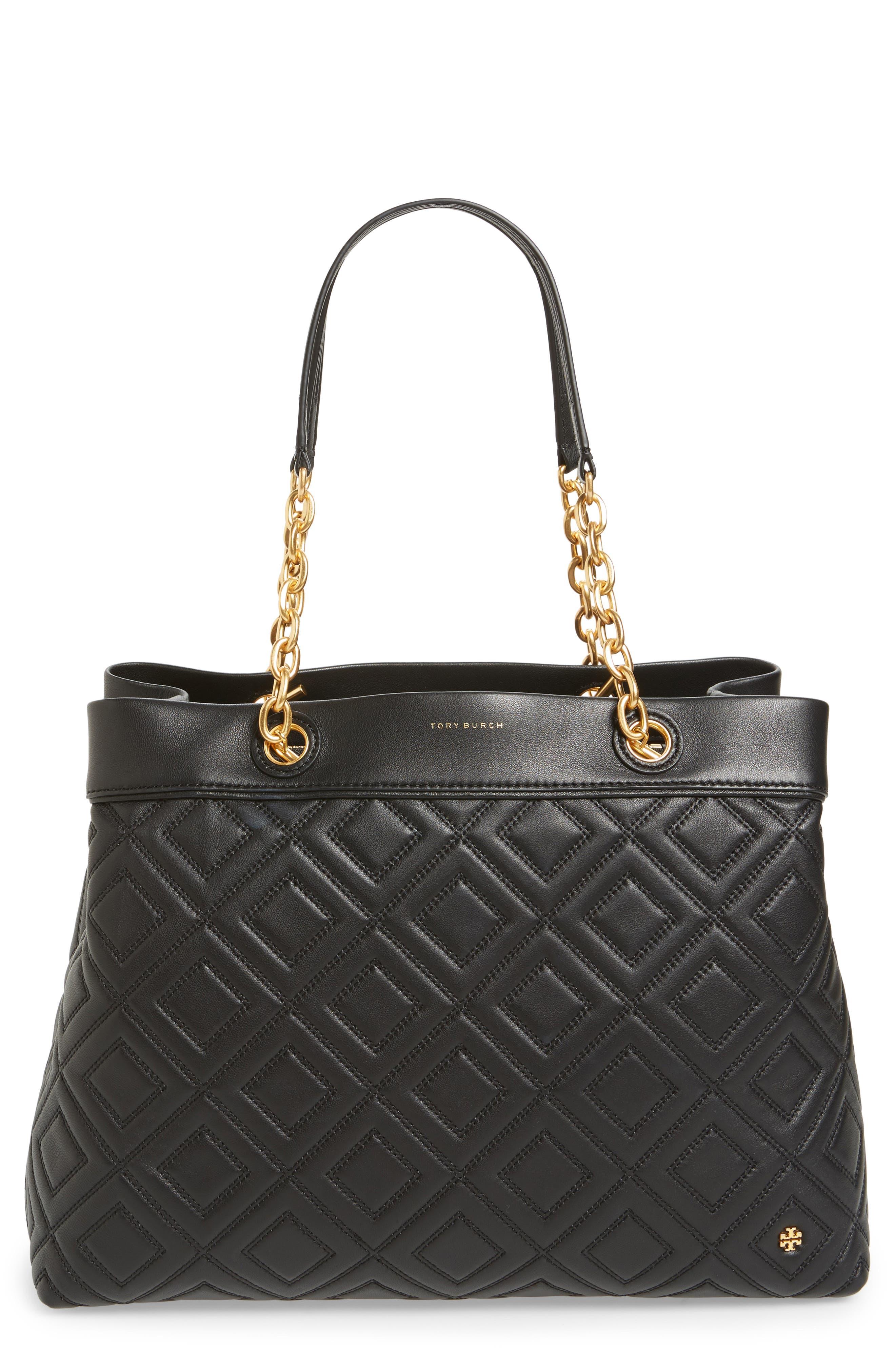 Lousia Lambskin Leather Tote,                         Main,                         color, Black