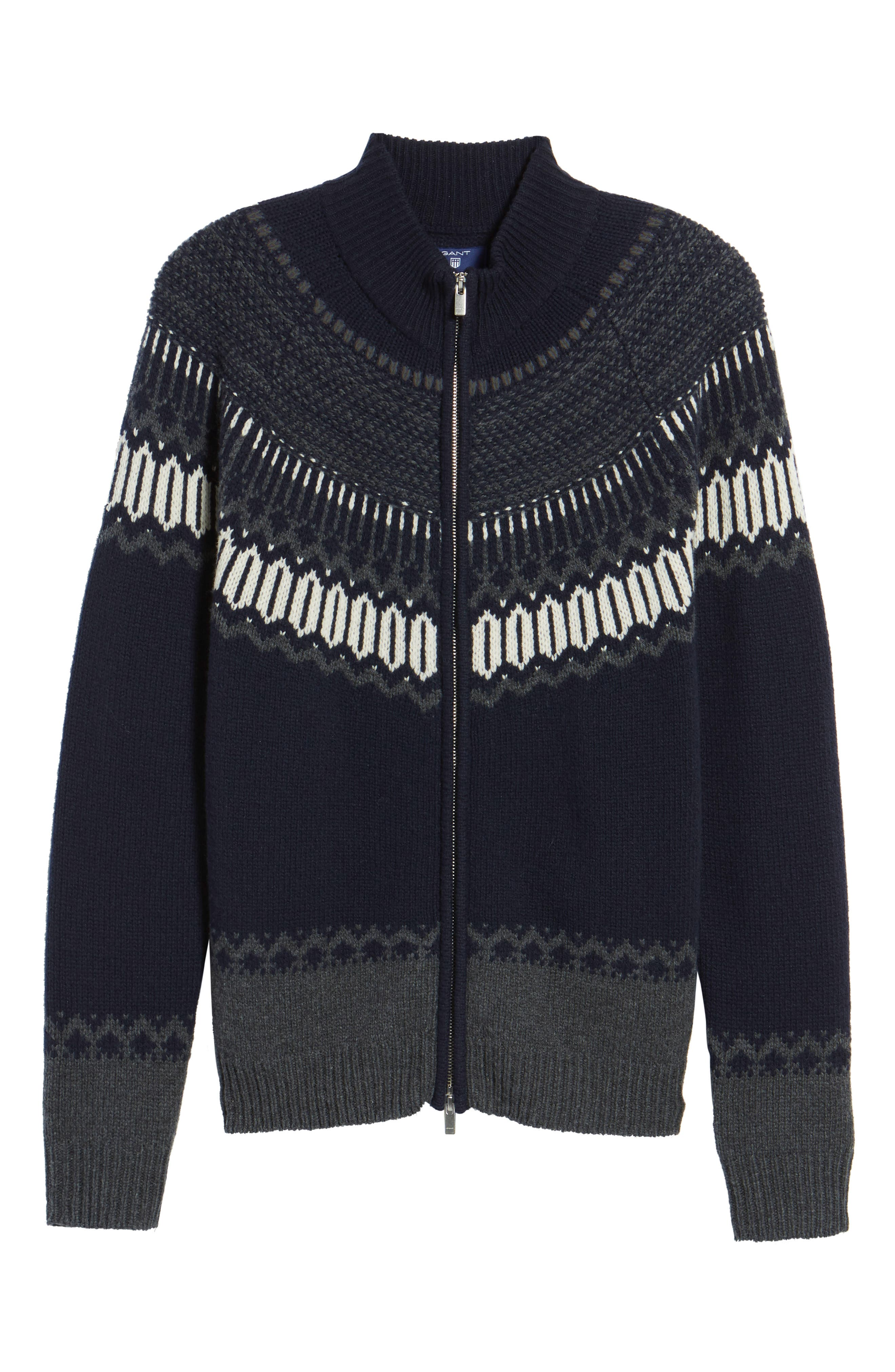 02 Lambswool & Cashmere Fair Isle Zip Front Cardigan,                             Alternate thumbnail 6, color,                             Navy