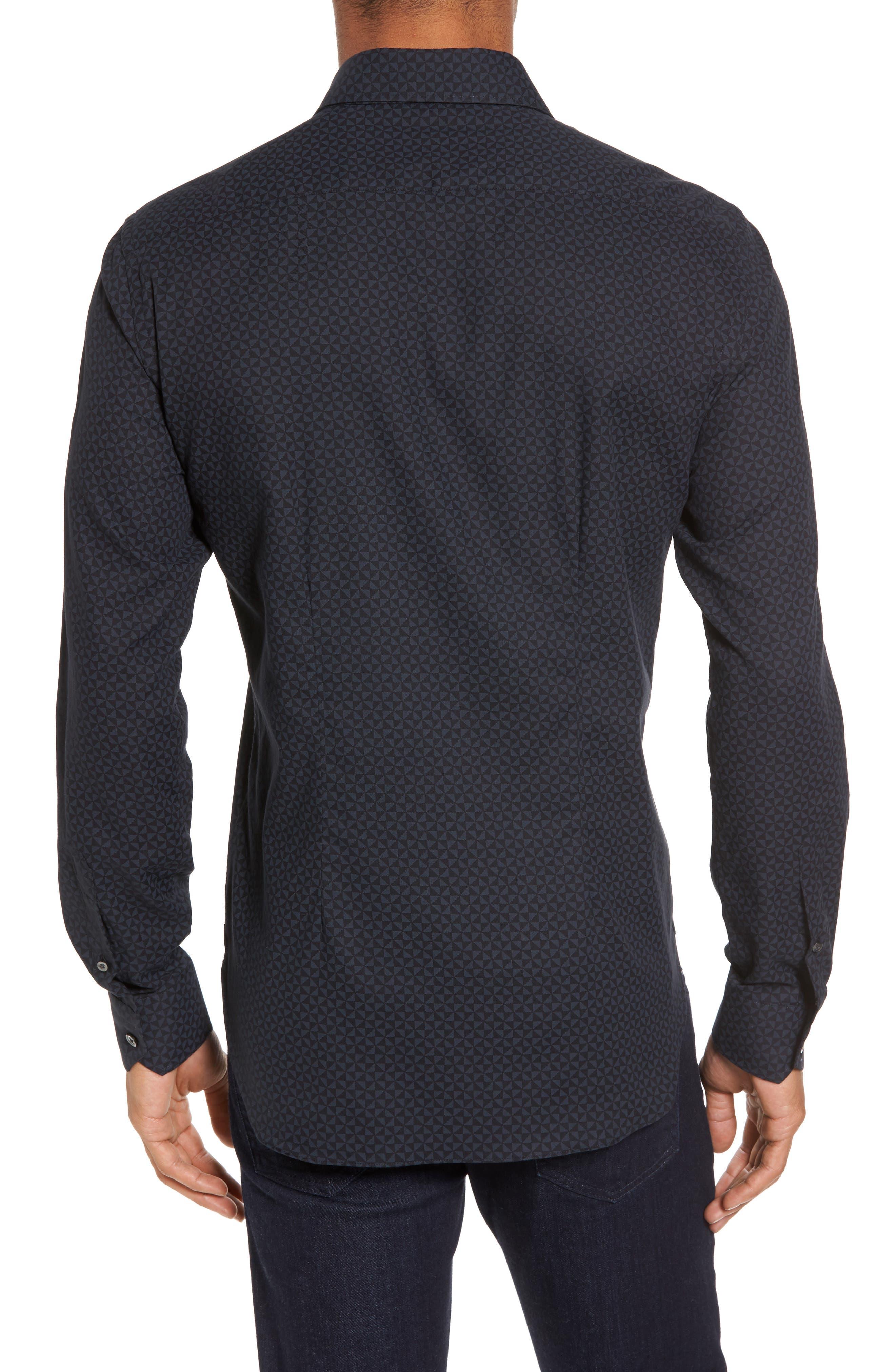 Slim Fit Geo Print Twill Sport Shirt,                             Alternate thumbnail 2, color,                             Black
