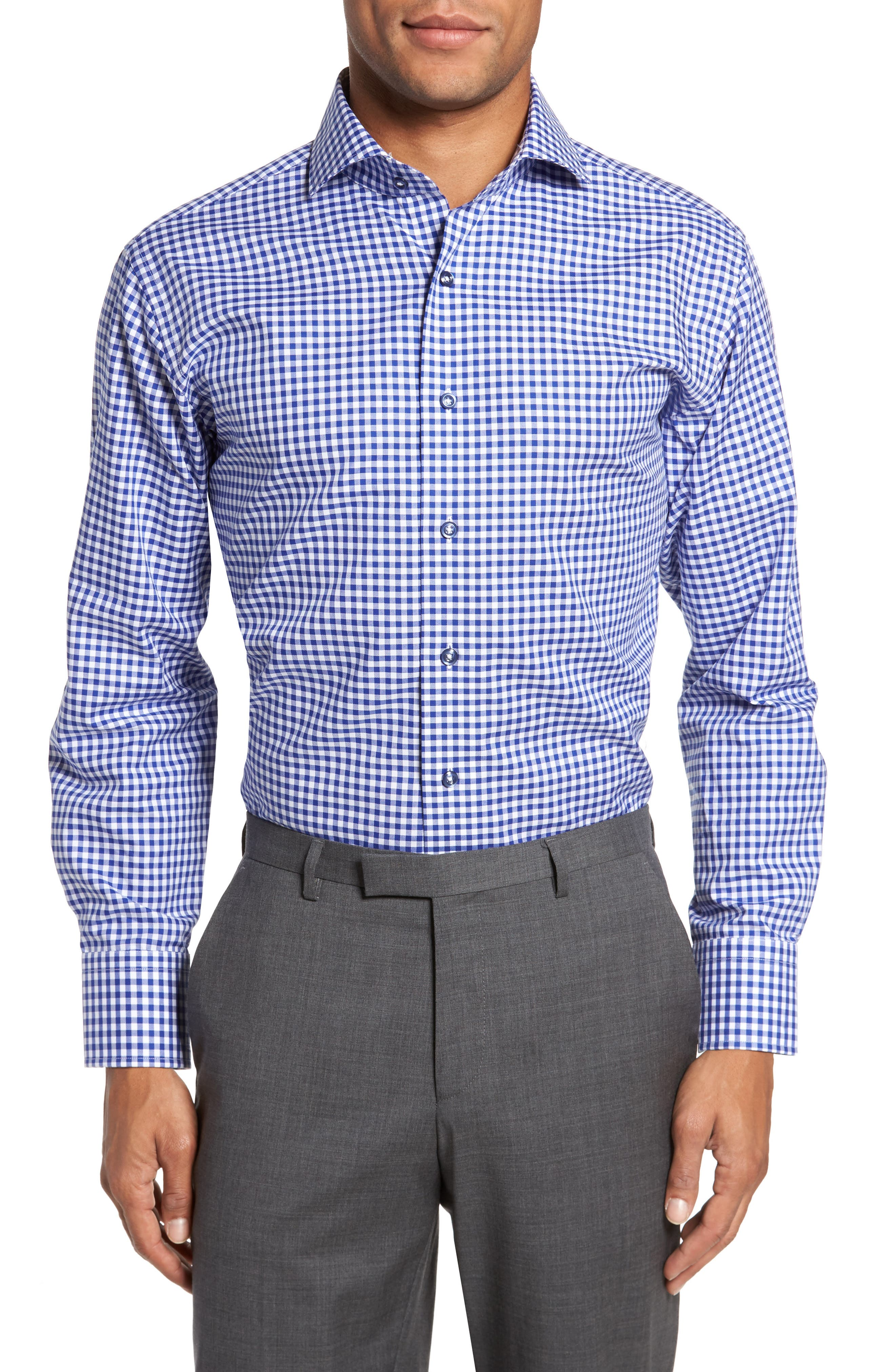 Trim Fit Textured Gingham Dress Shirt,                         Main,                         color, Navy