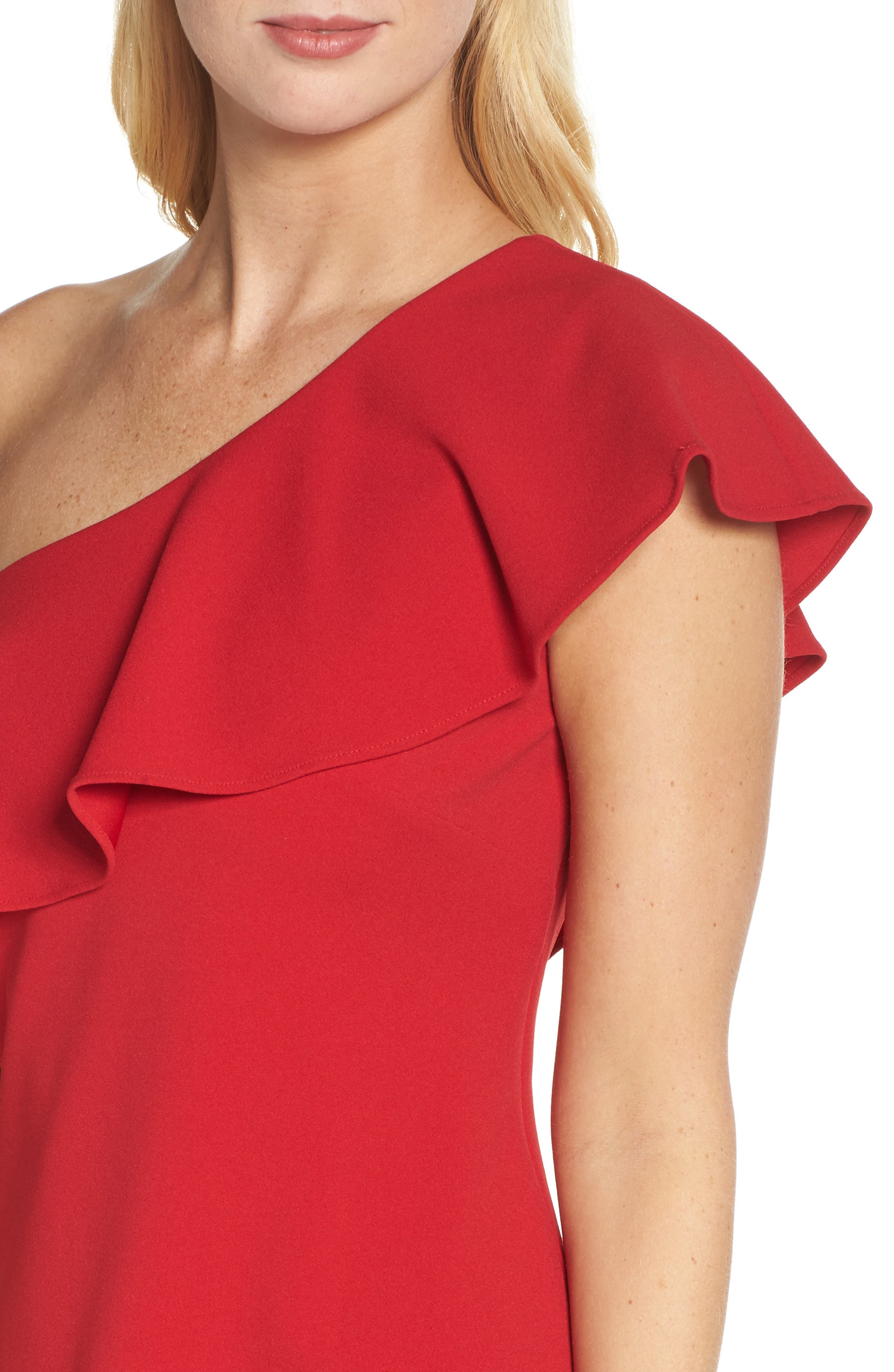 Ruffle One-Shoulder Shift Dress,                             Alternate thumbnail 4, color,                             Red