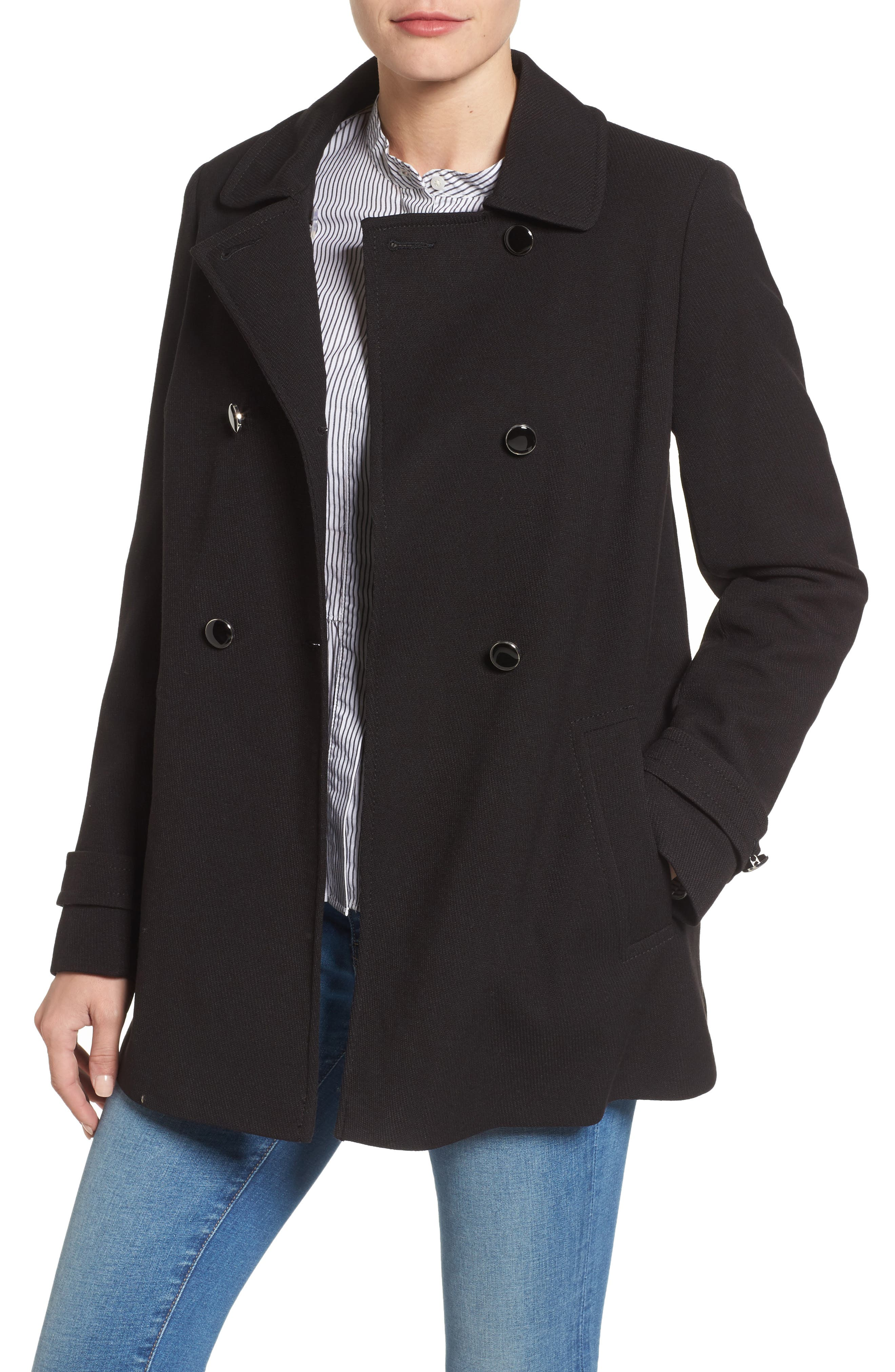 Double Breasted Swing Coat,                         Main,                         color, Black