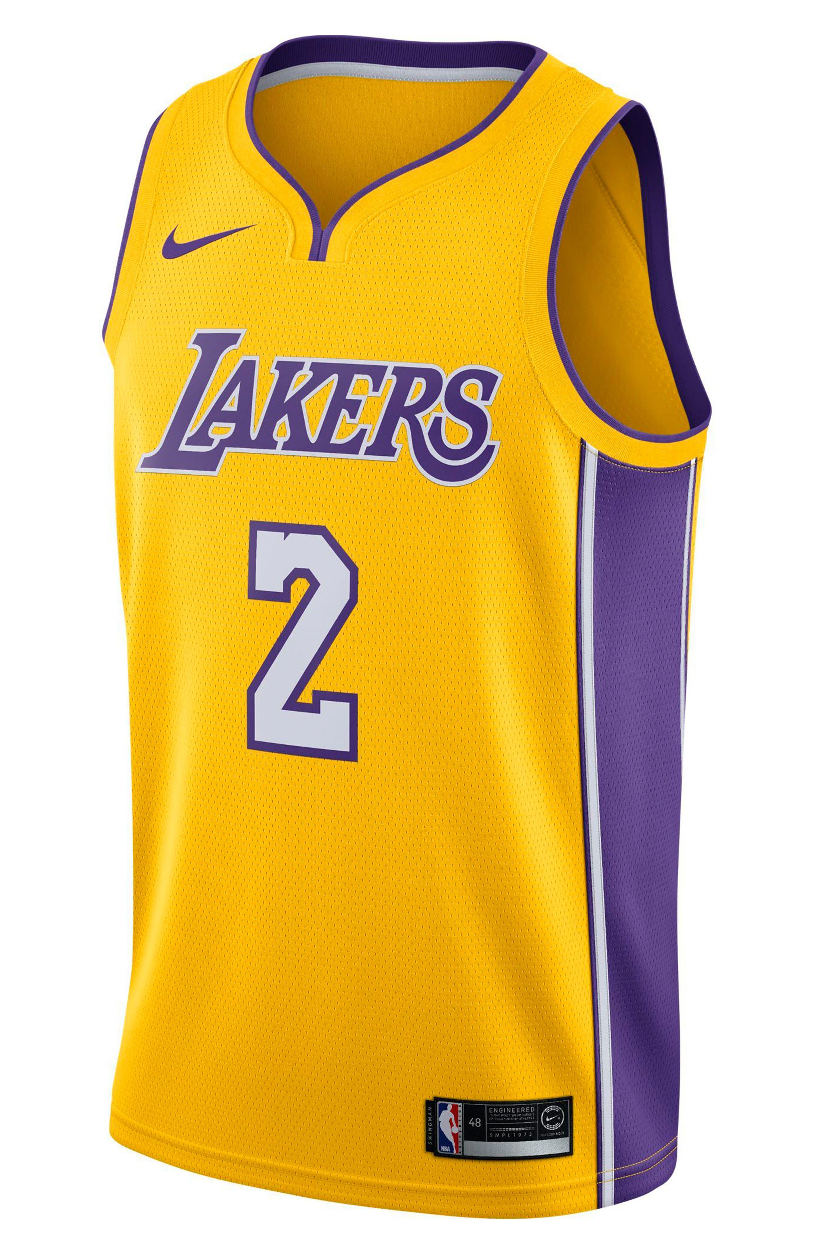 Los Angeles Lakers Nike Association Edition Swingman Men's NBA Jersey,                         Main,                         color, Amarillo/ White