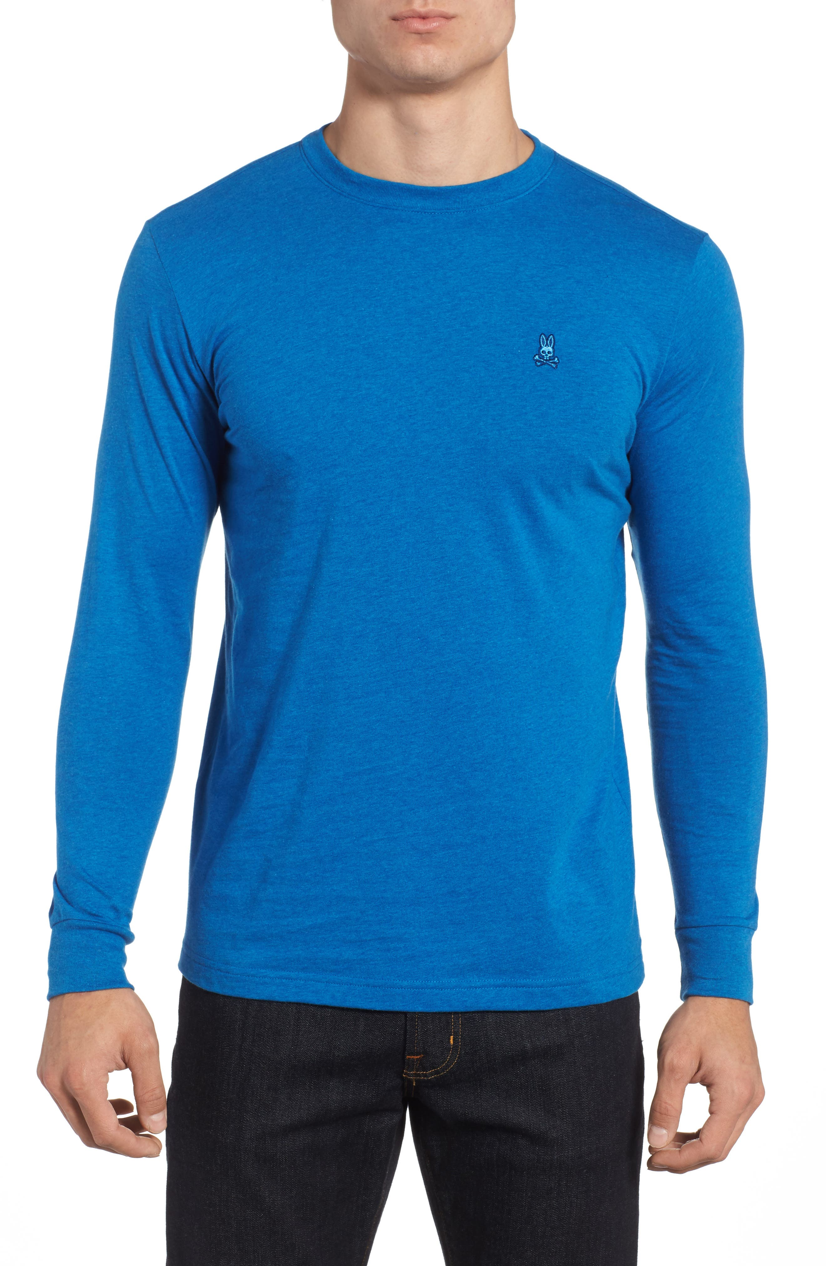 Long Sleeve T-Shirt,                         Main,                         color, Heather Cobalt