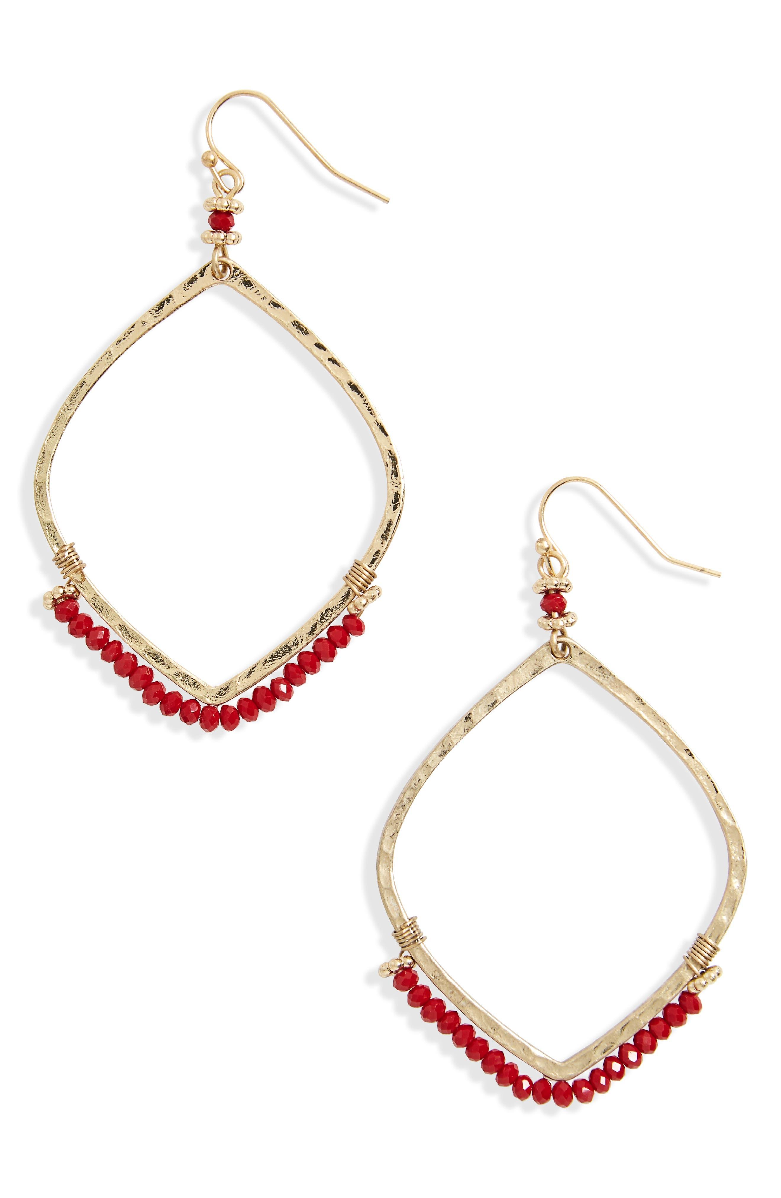 Canvas Beaded Hoop Earrings