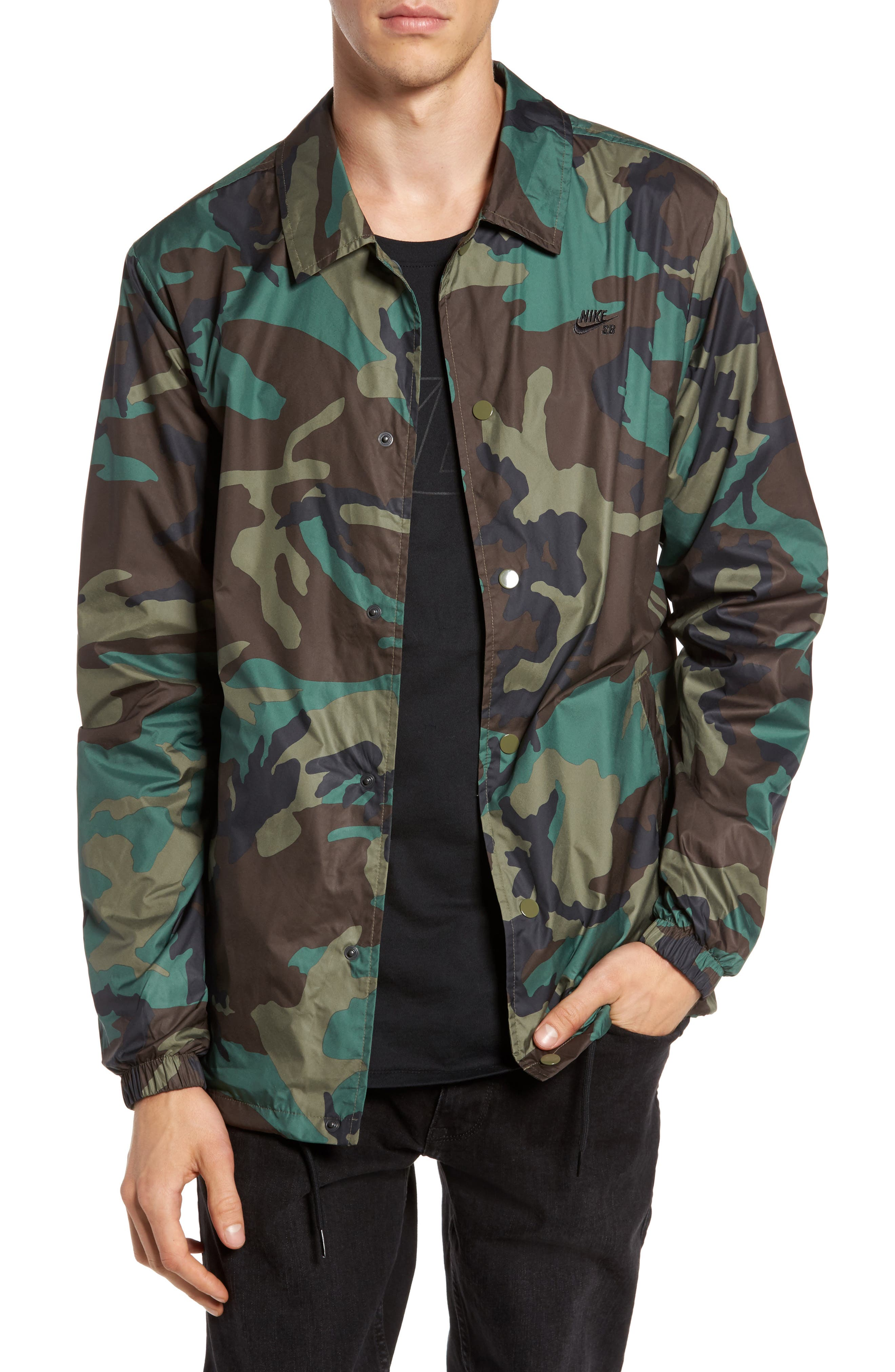 Shield Coach's Jacket,                             Main thumbnail 1, color,                             Medium Olive/ Black