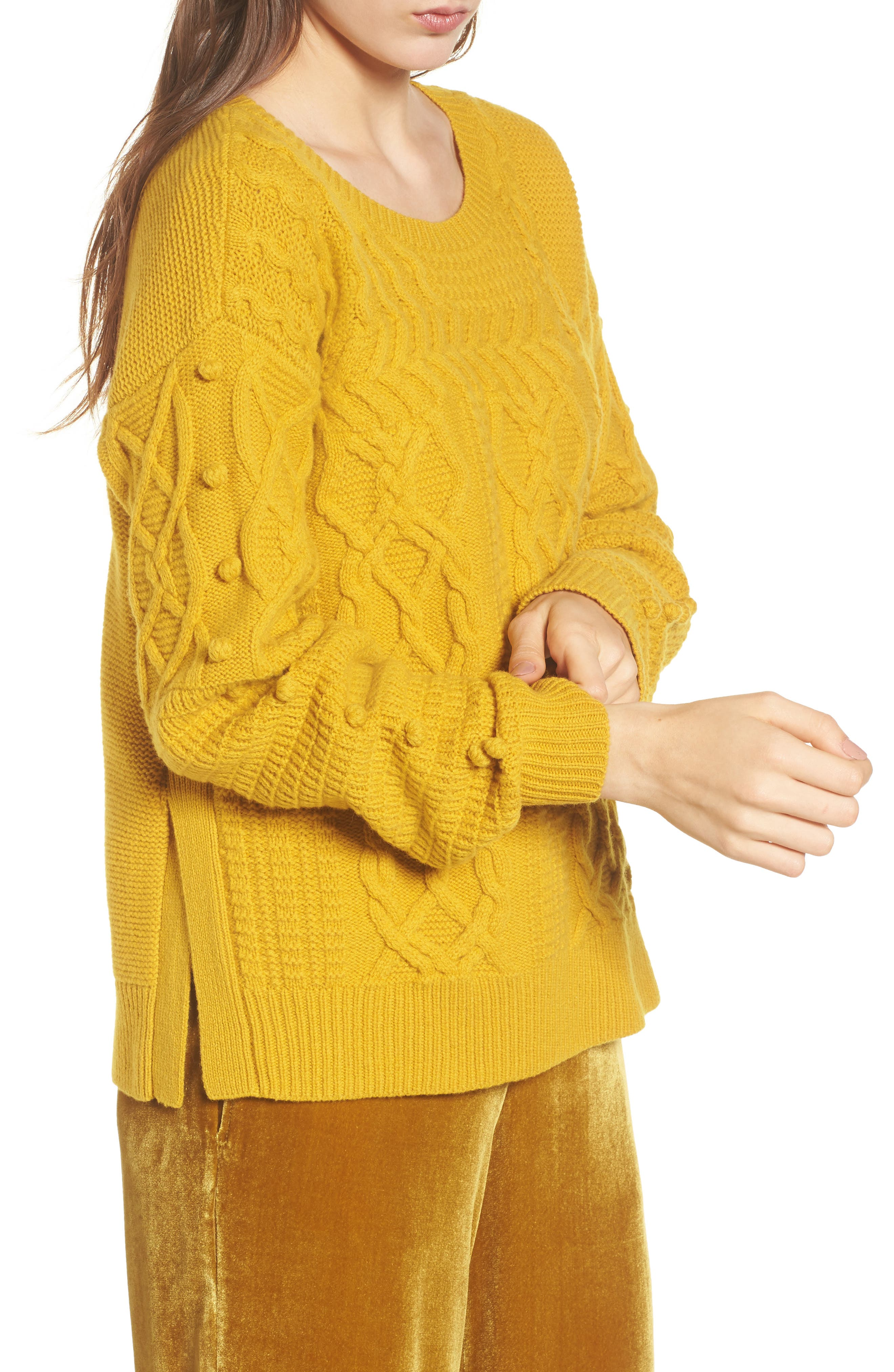 Open Side Bobble Pullover Sweater,                             Alternate thumbnail 3, color,                             Mystic Yellow