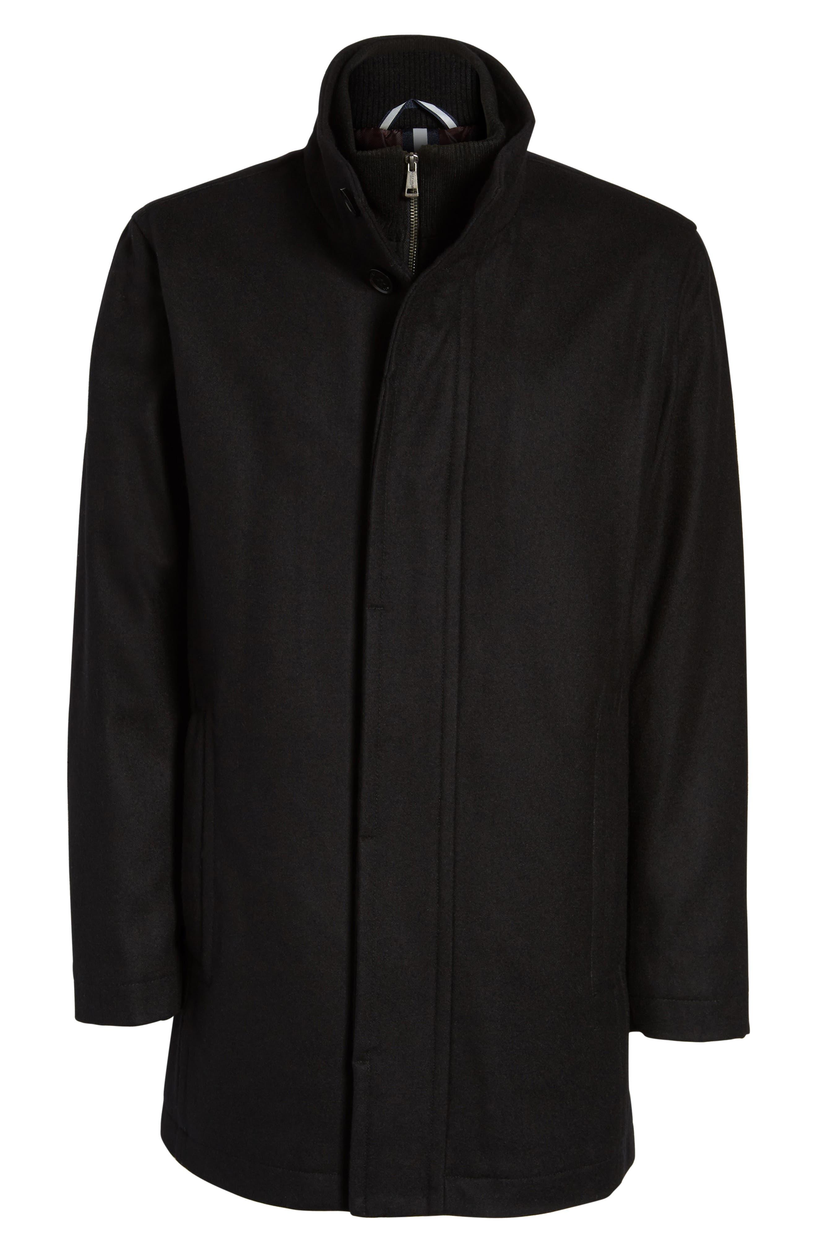 Melton Wool Blend Coat,                             Alternate thumbnail 6, color,                             Black
