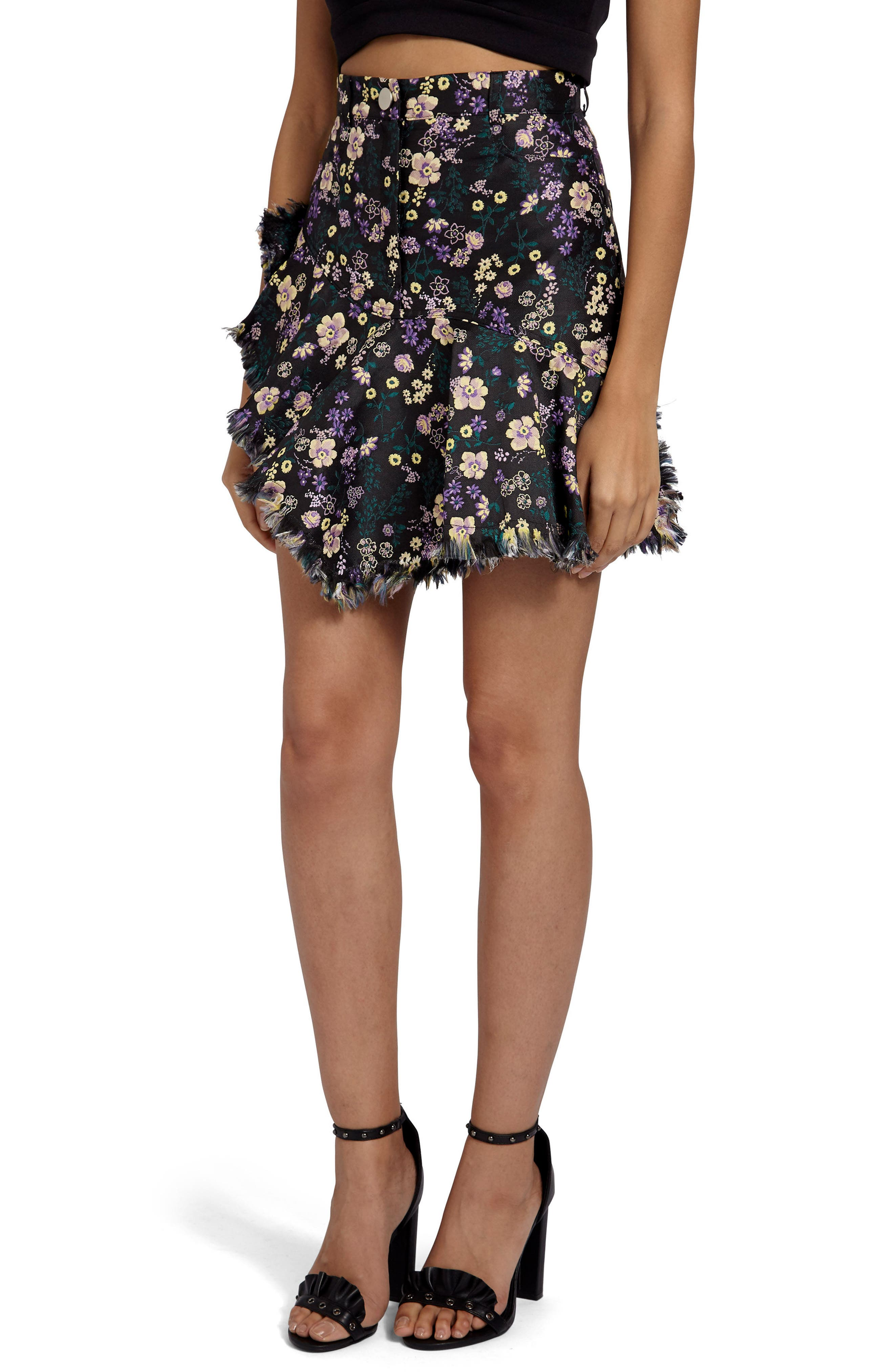 Jacquard Floral Miniskirt,                         Main,                         color, Black
