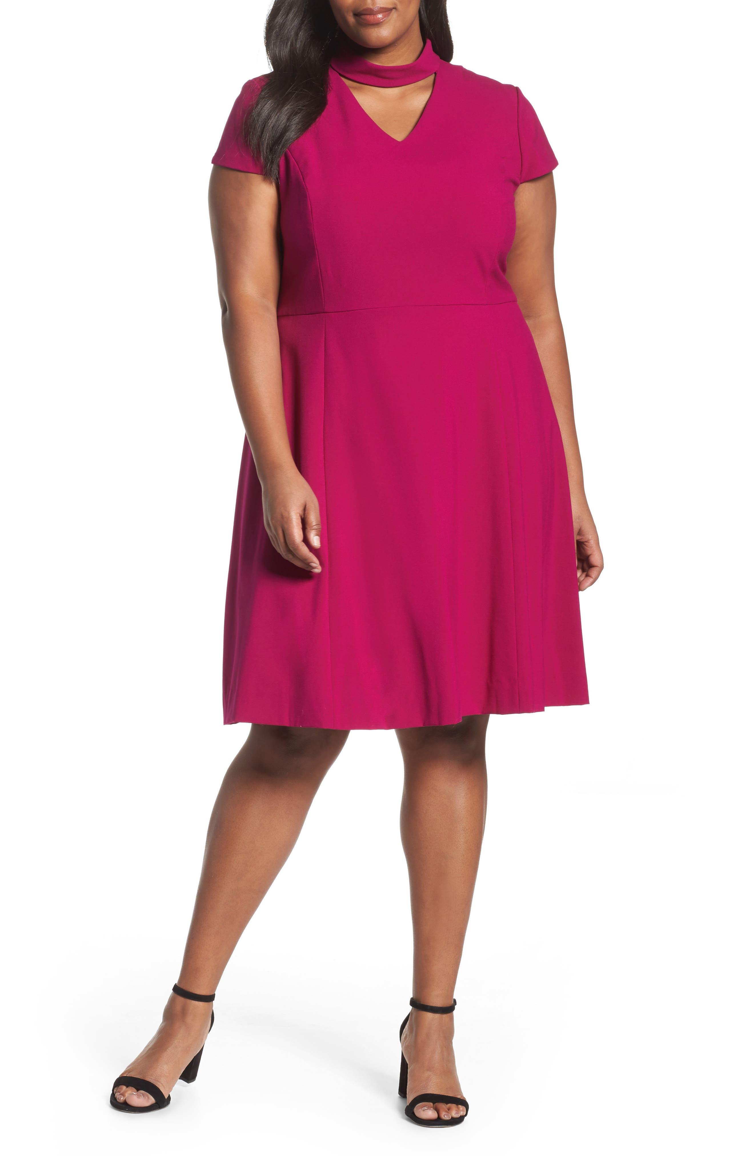 Mock Choker Neck A-Line Dress,                         Main,                         color, Magenta