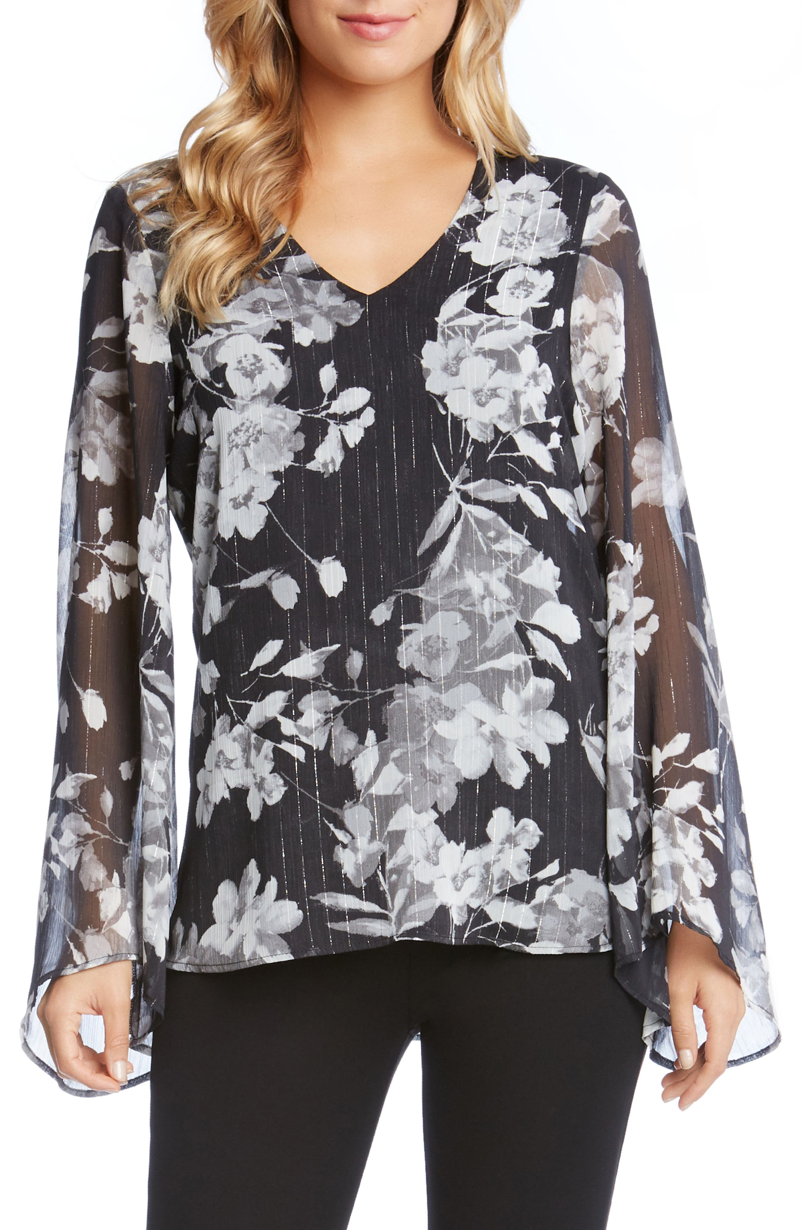 V-Neck Bell Sleeve Top,                             Main thumbnail 1, color,                             Print