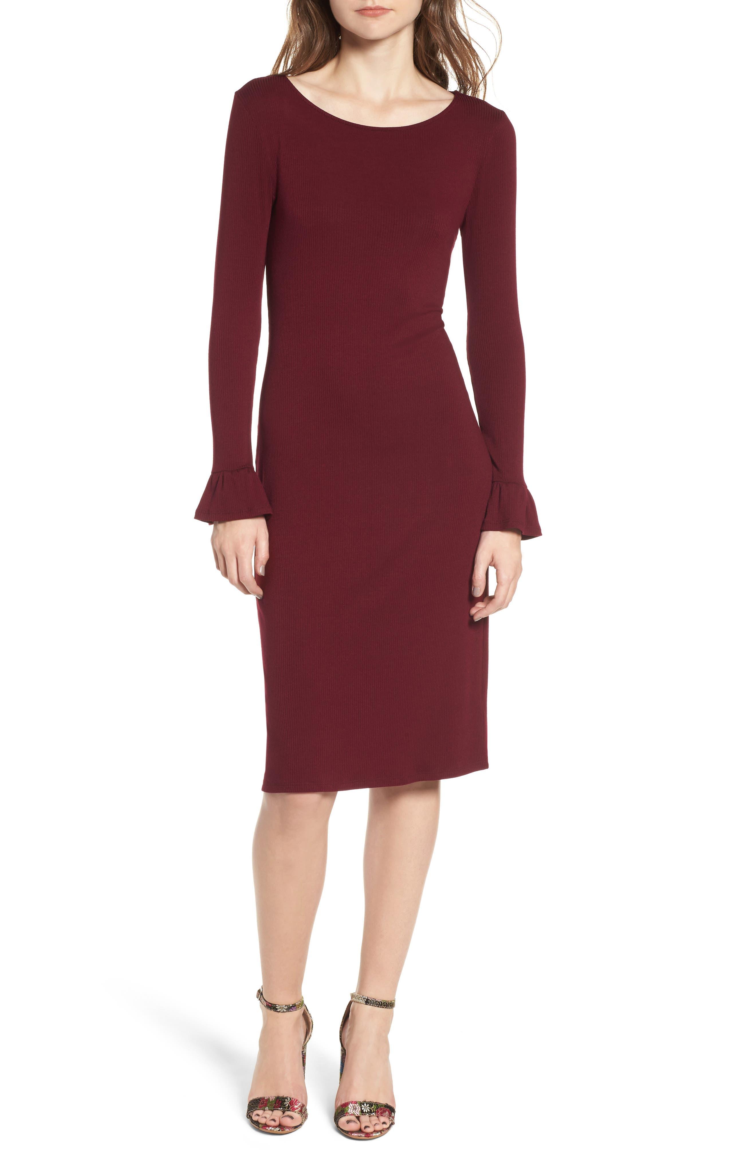 One Clothing Ruffle Sleeve Ribbed Midi Dress