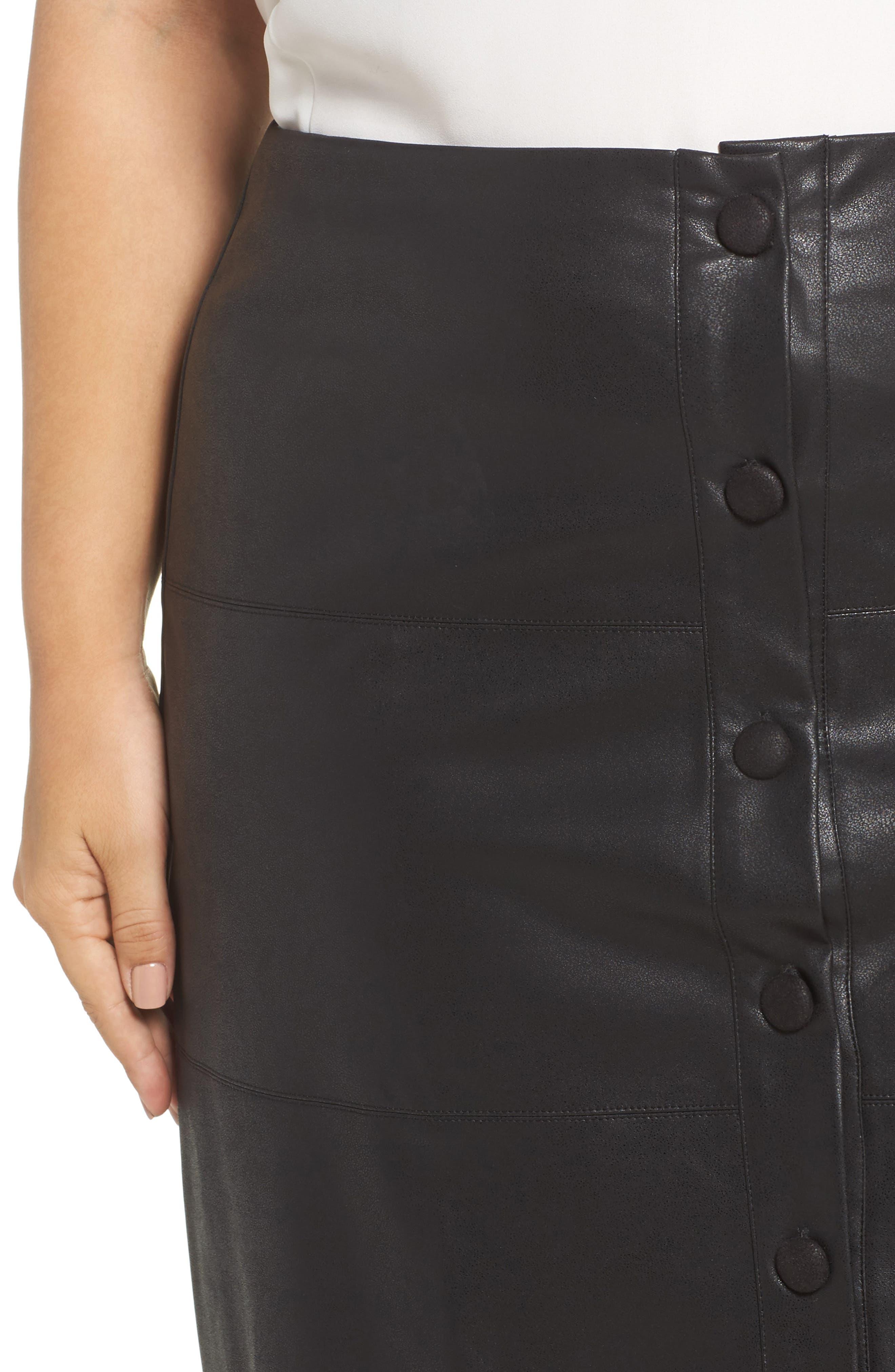 Button Front Faux Leather Skirt,                             Alternate thumbnail 4, color,                             Black