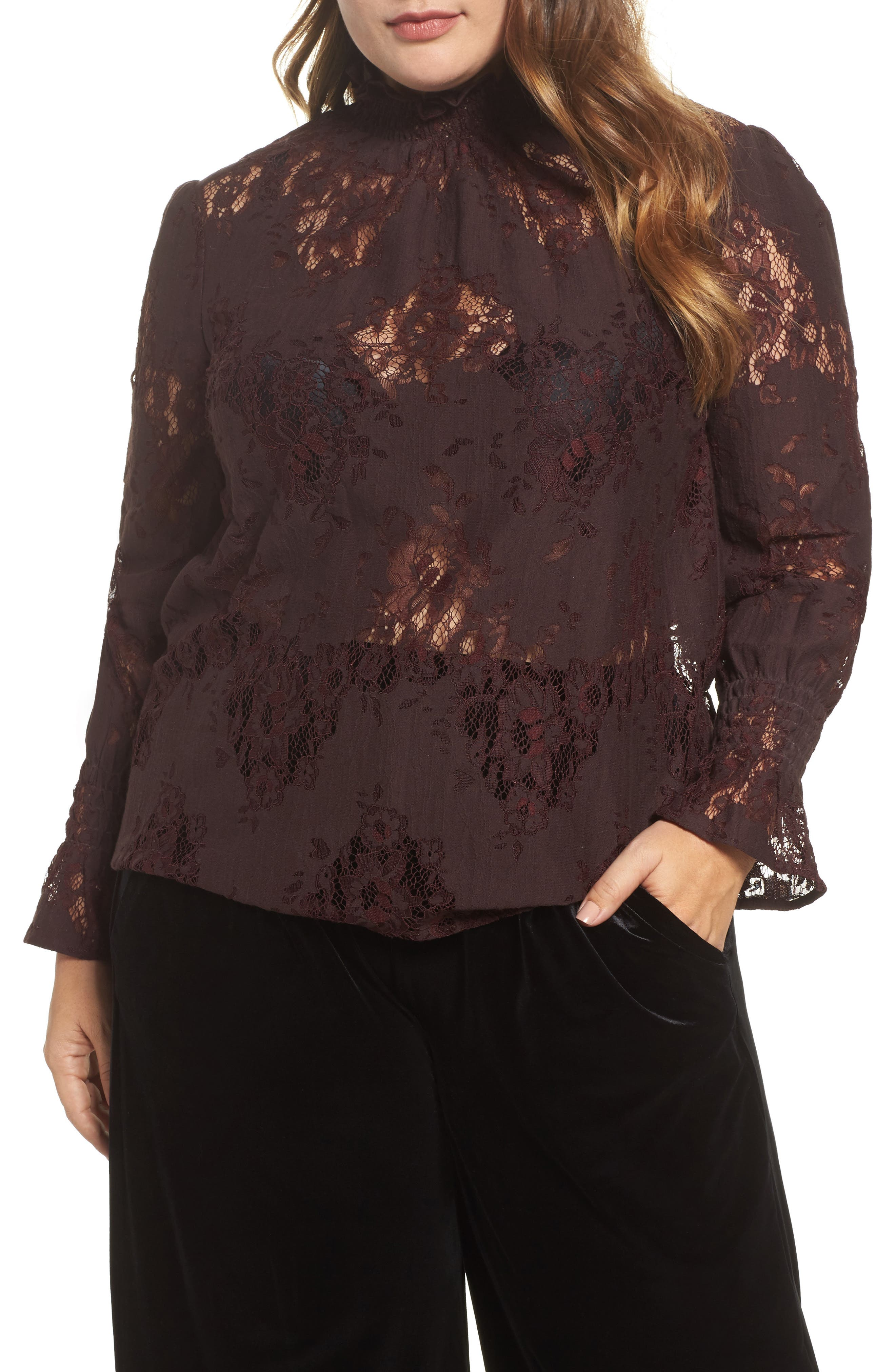 High Neck Ruffle & Lace Blouse,                             Alternate thumbnail 4, color,                             Burgundy