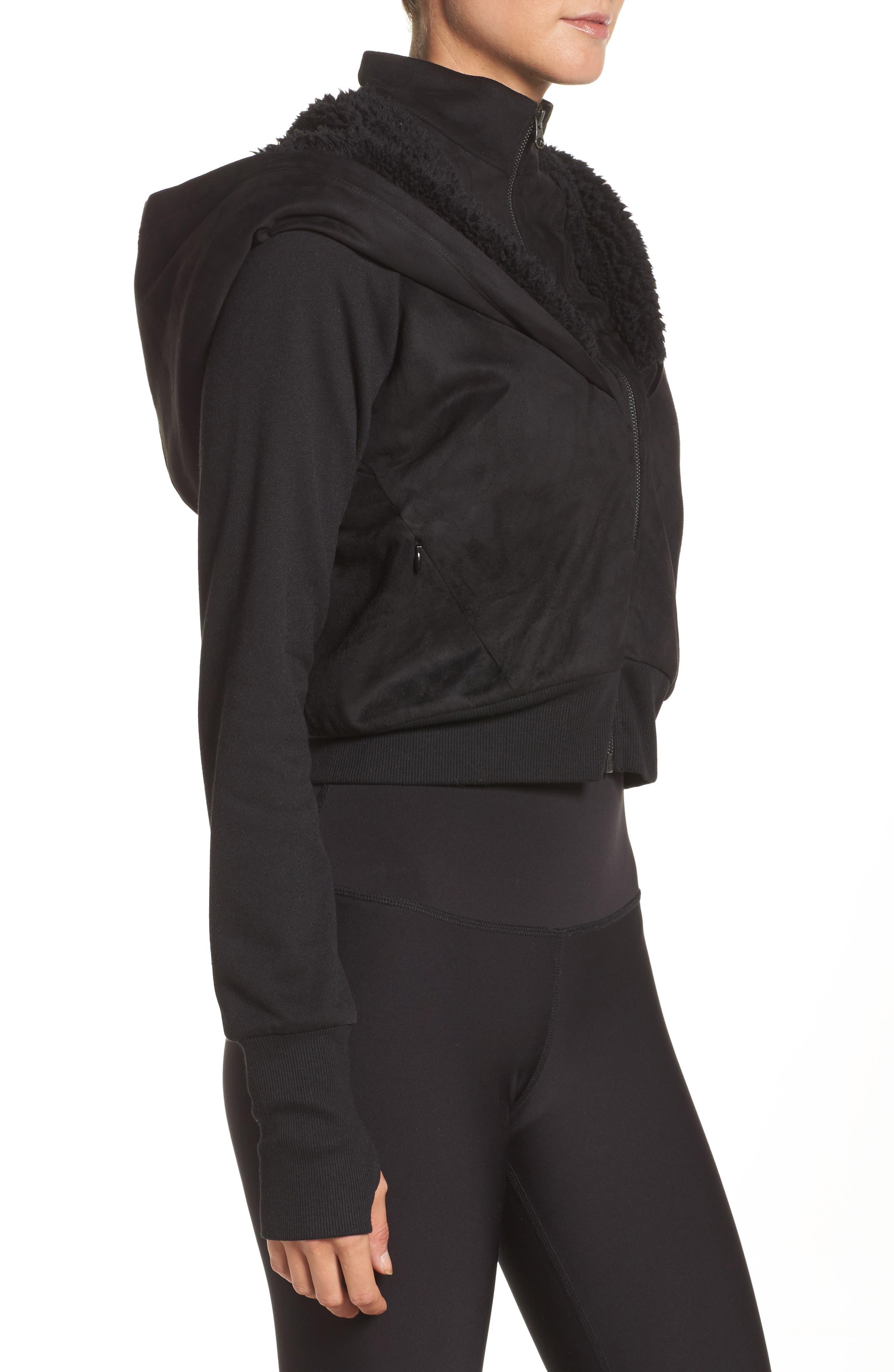 LA Winter Faux Fur Lined Jacket,                             Alternate thumbnail 3, color,                             Black