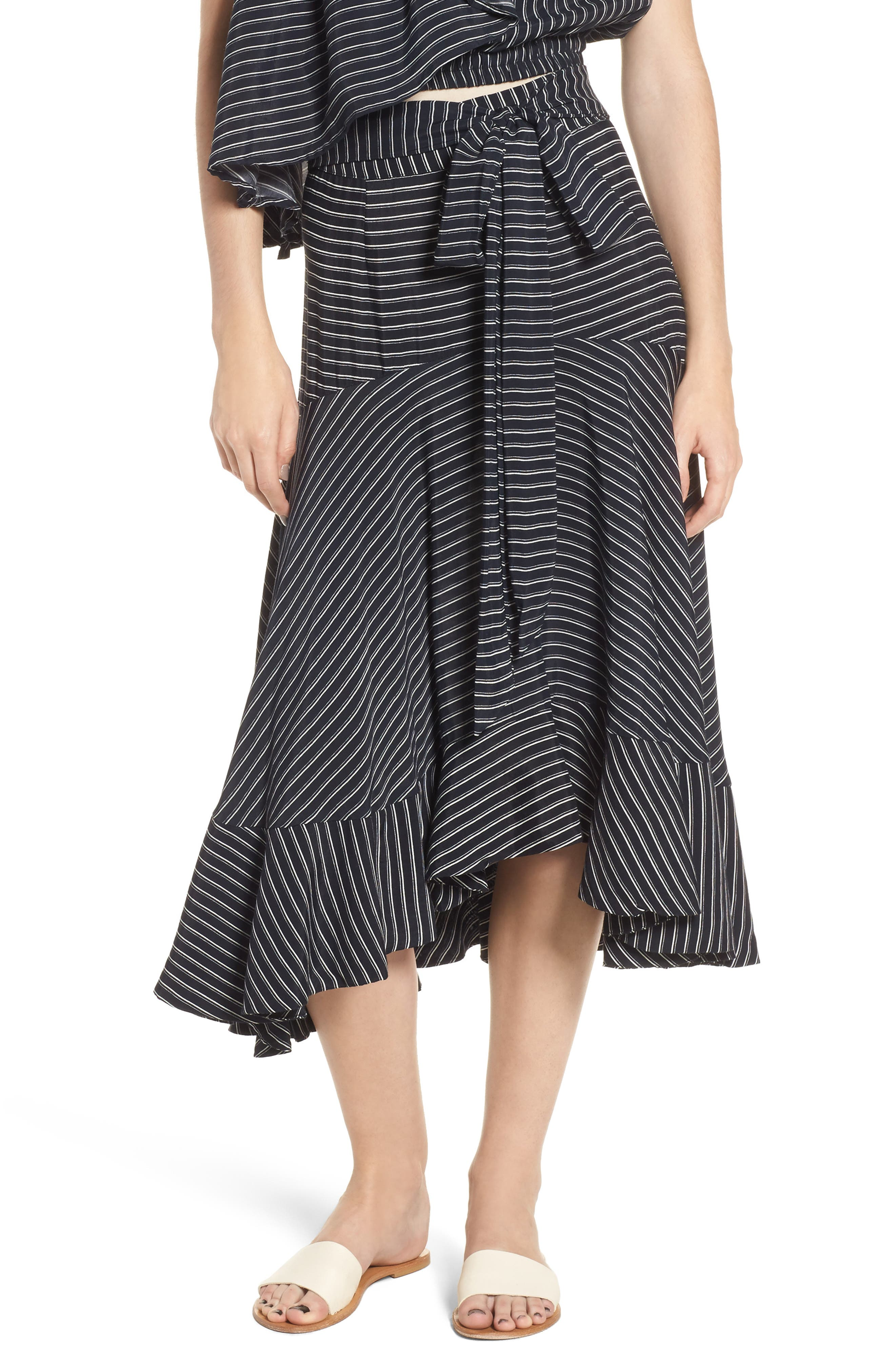 Kamares Ruffle Midi Skirt,                             Main thumbnail 1, color,                             San Cristobal Stripe Print
