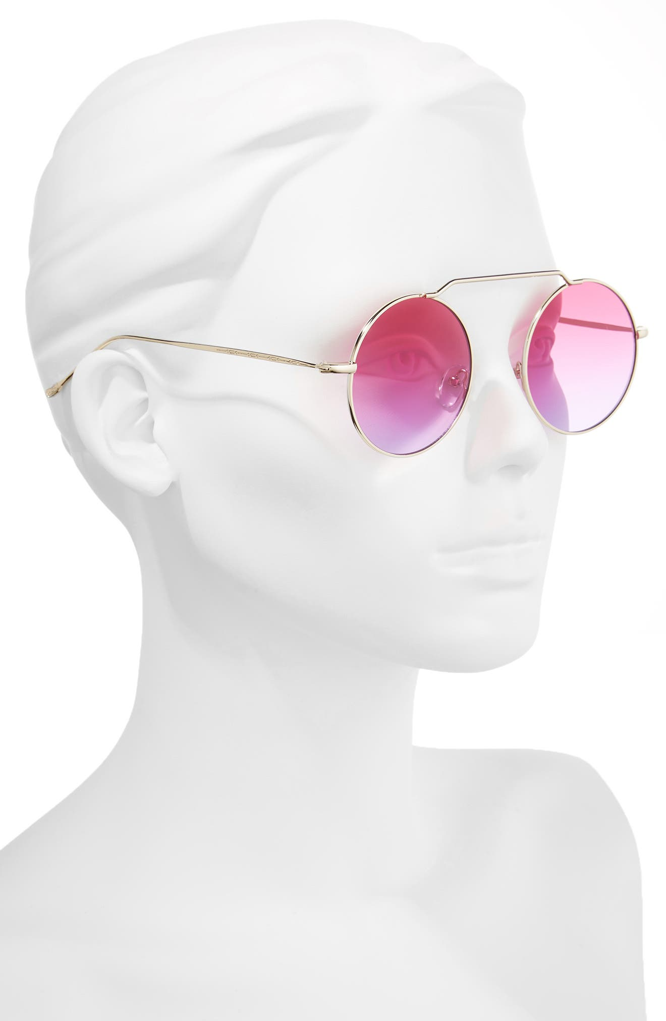 51mm Brow Bar Round Sunglasses,                             Alternate thumbnail 2, color,                             Purple