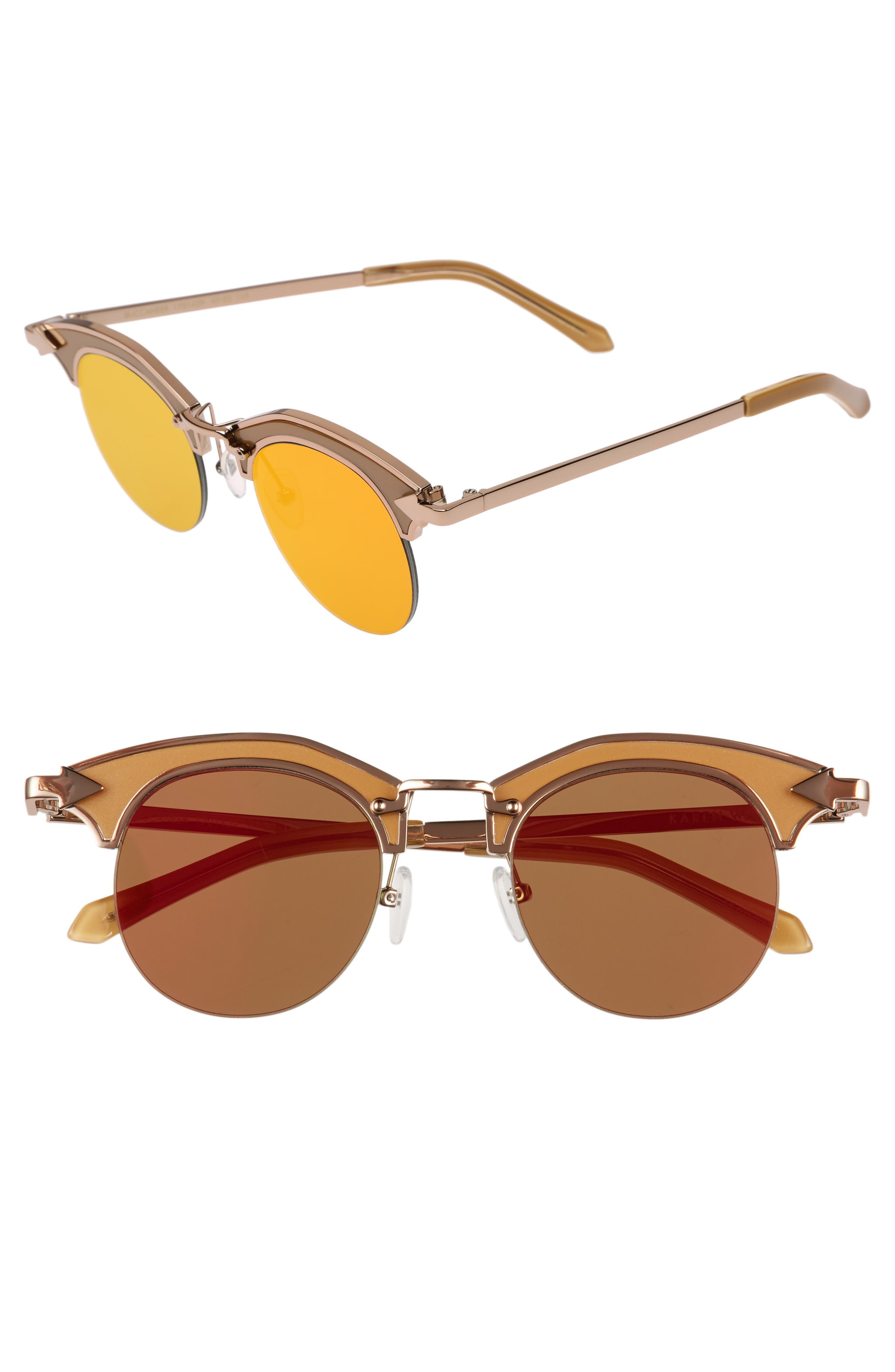 Buccaneer 47mm Round Sunglasses,                             Main thumbnail 1, color,                             Tan