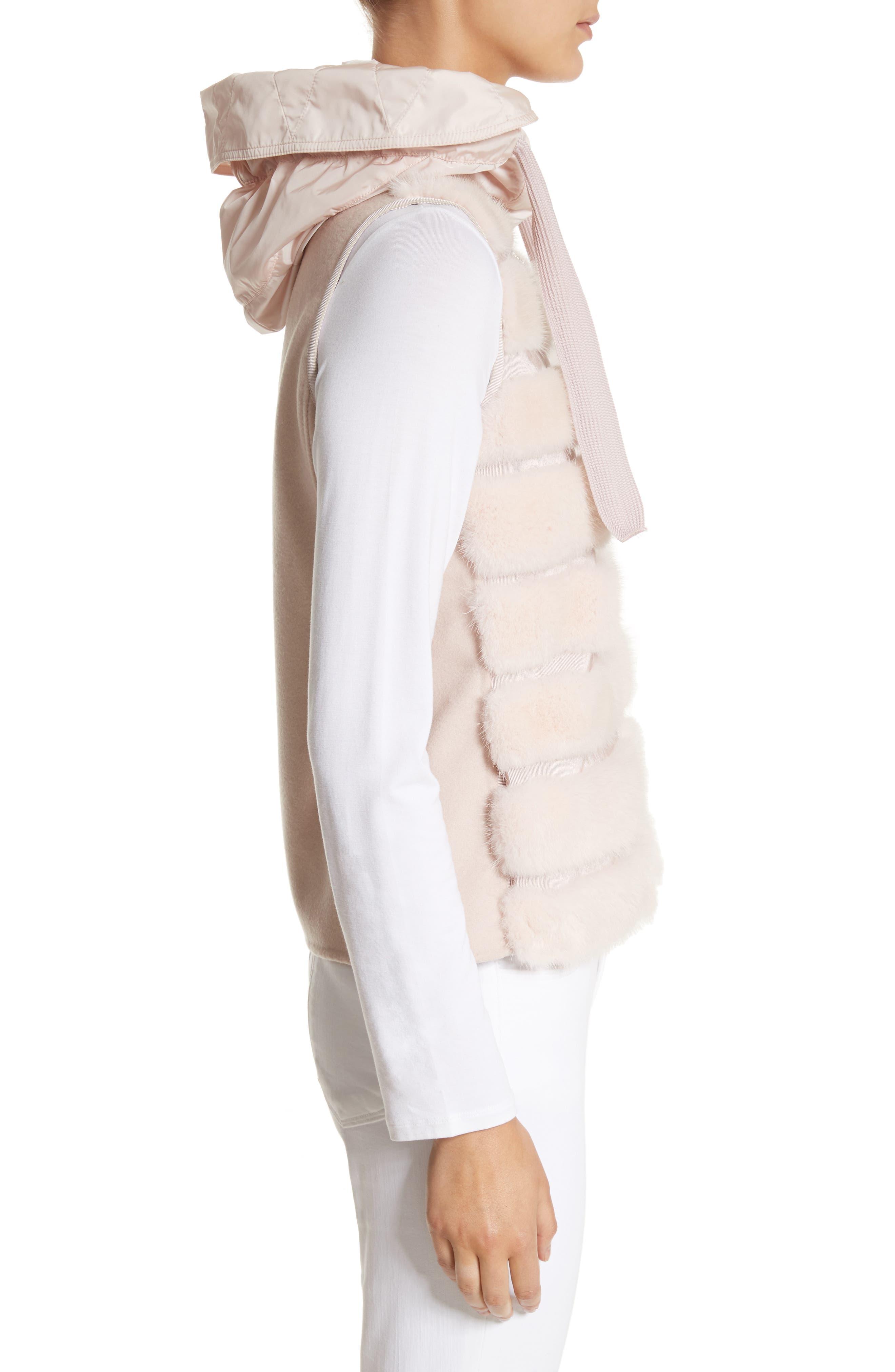 Ametrine Wool & Cashmere Vest with Genuine Mink Fur Trim & Removable Hood,                             Alternate thumbnail 3, color,                             Blush