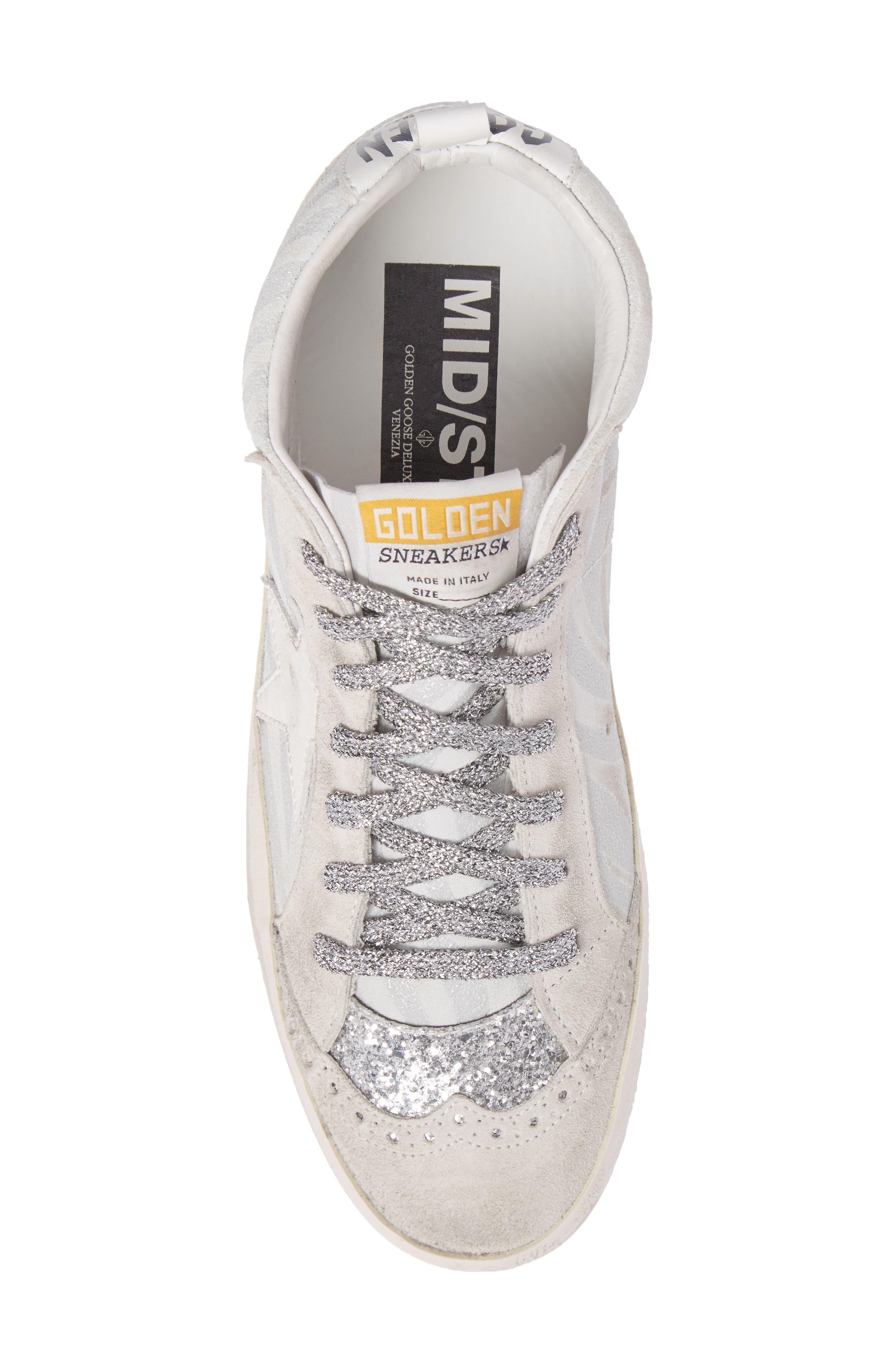 Star Mid Top Sneaker,                             Alternate thumbnail 5, color,                             White Zebra