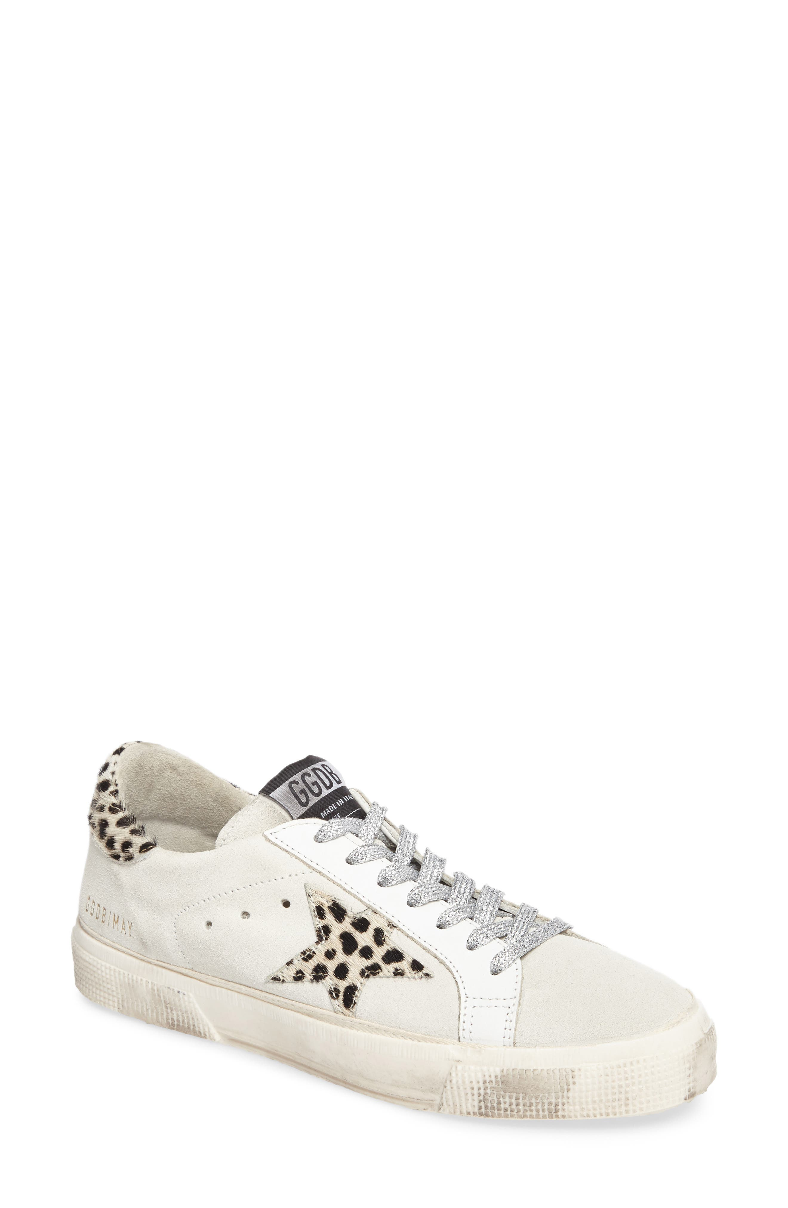 May Low Top Sneaker,                         Main,                         color, White Suede/ Leopard