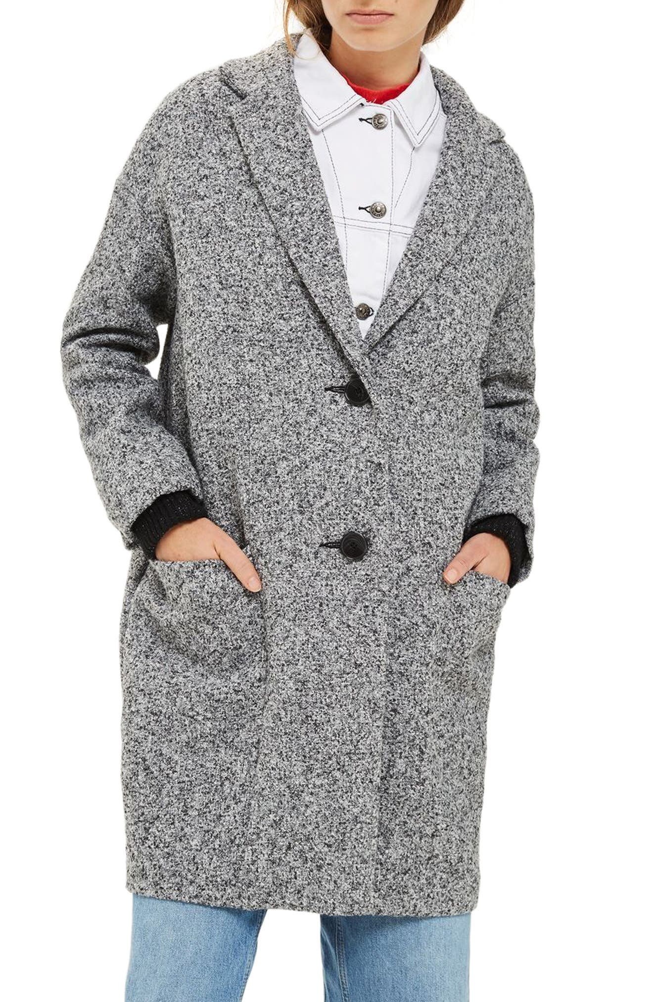 Textured Cocoon Coat,                             Main thumbnail 1, color,                             Grey Multi