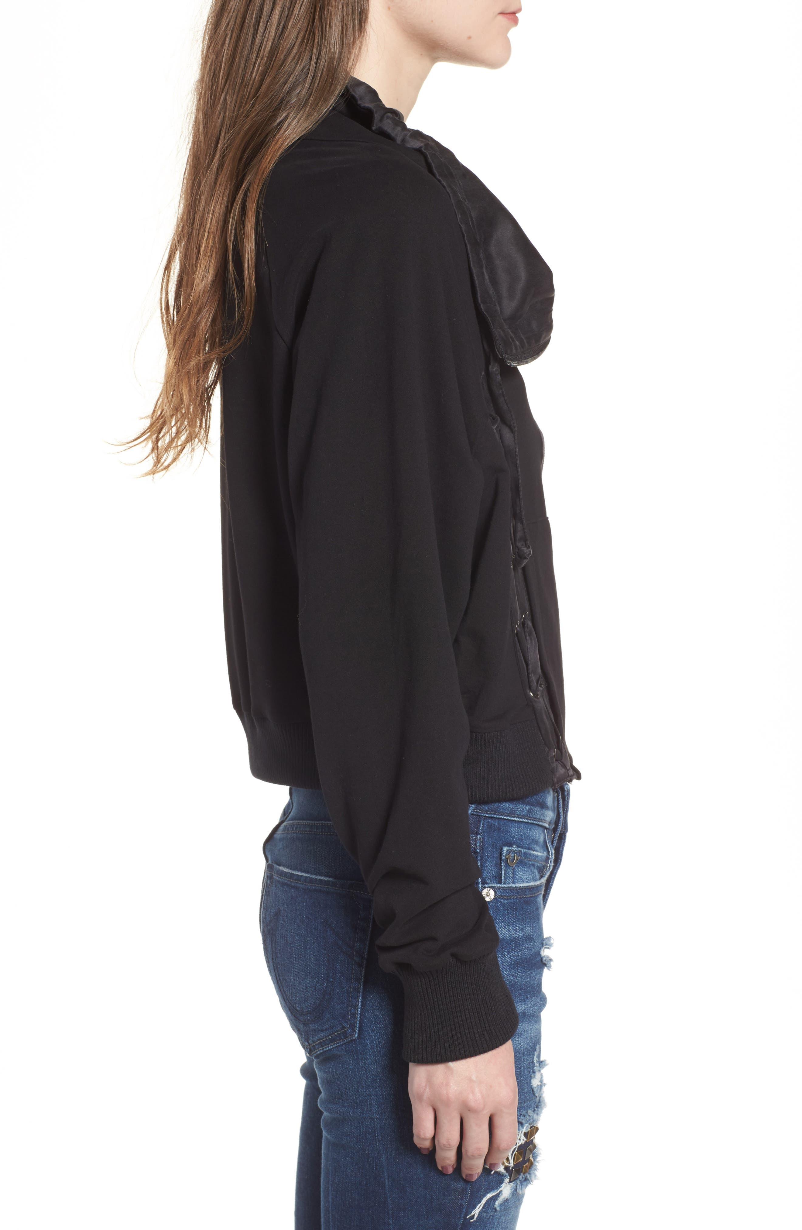 Lace-Up Sweatshirt,                             Alternate thumbnail 3, color,                             Black