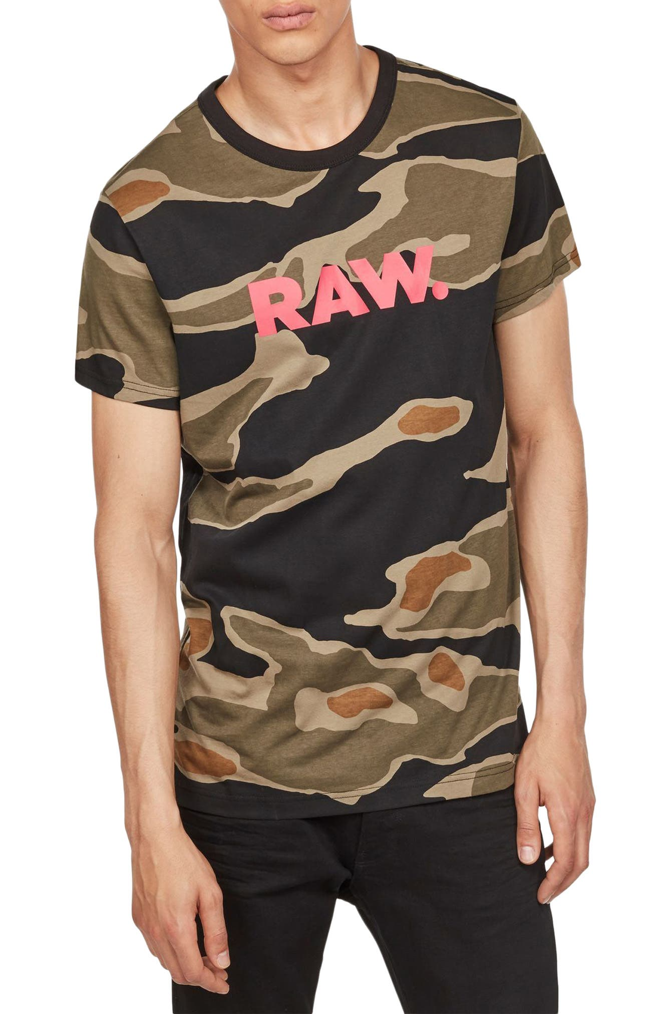 Tiger Camo Graphic T-Shirt,                         Main,                         color, Sage/ Black