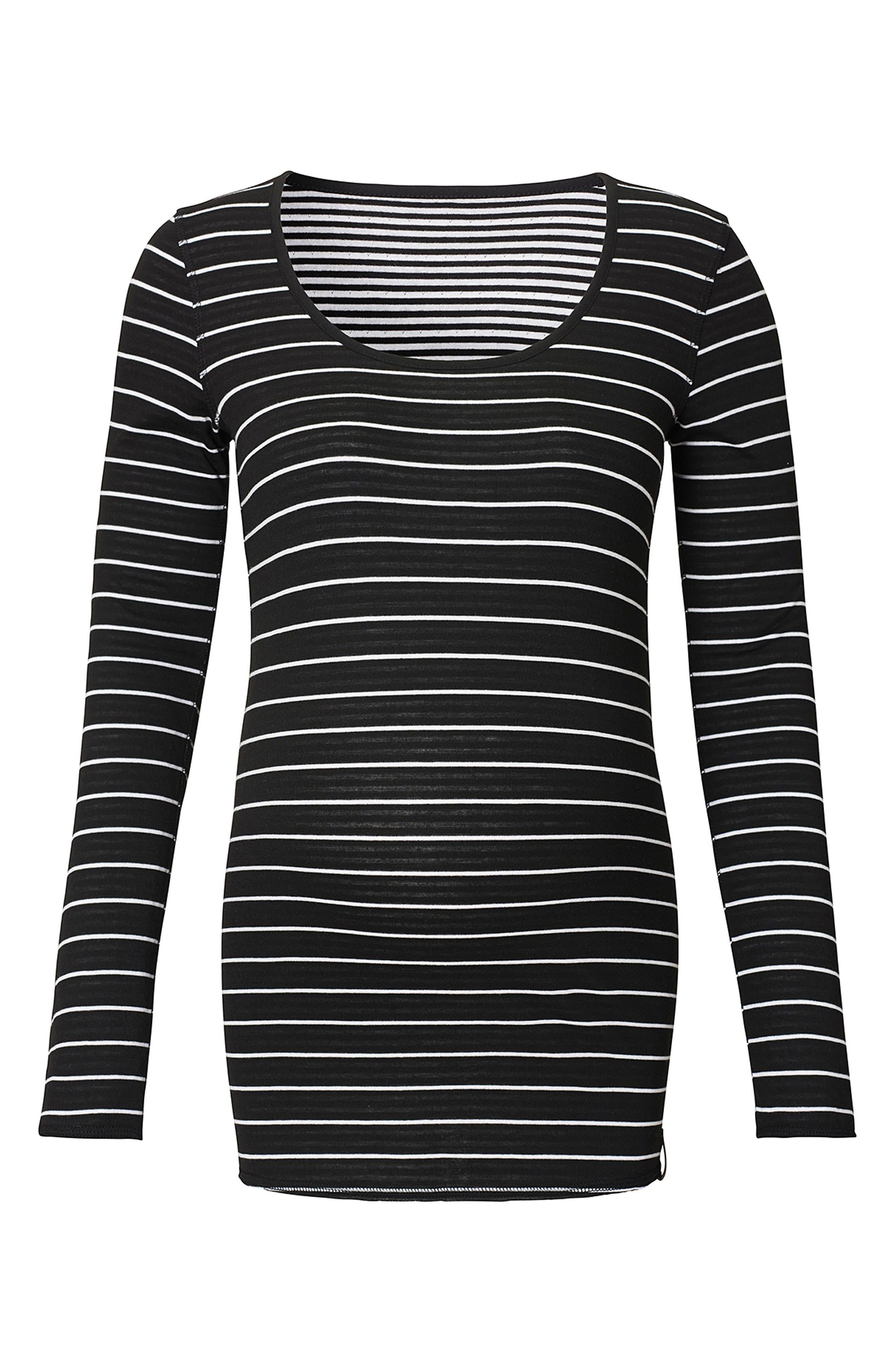 Ivy Stripe Maternity Shirt,                             Main thumbnail 1, color,                             Black