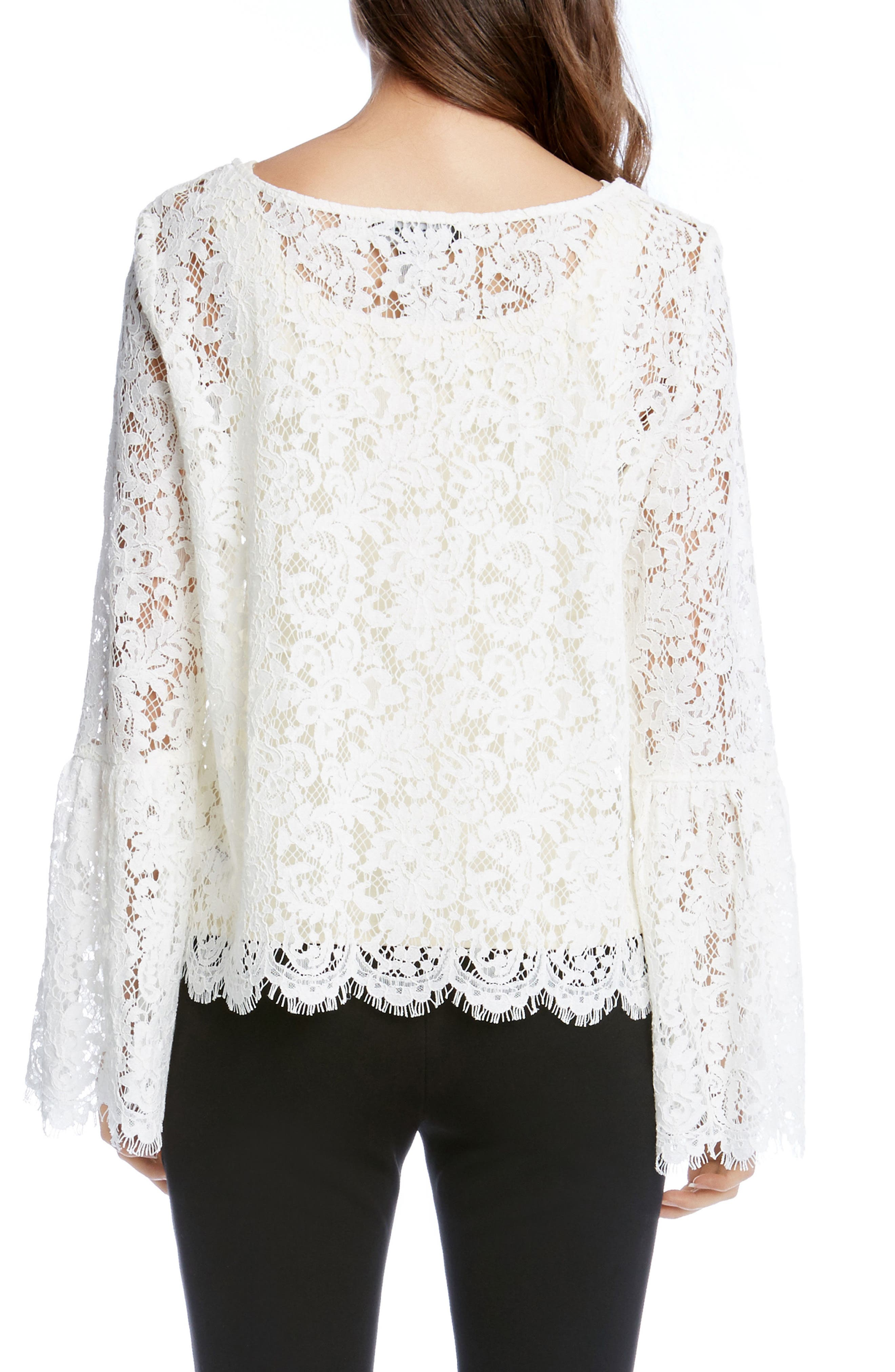 Lace Bell Sleeve Top,                             Alternate thumbnail 2, color,                             Cream