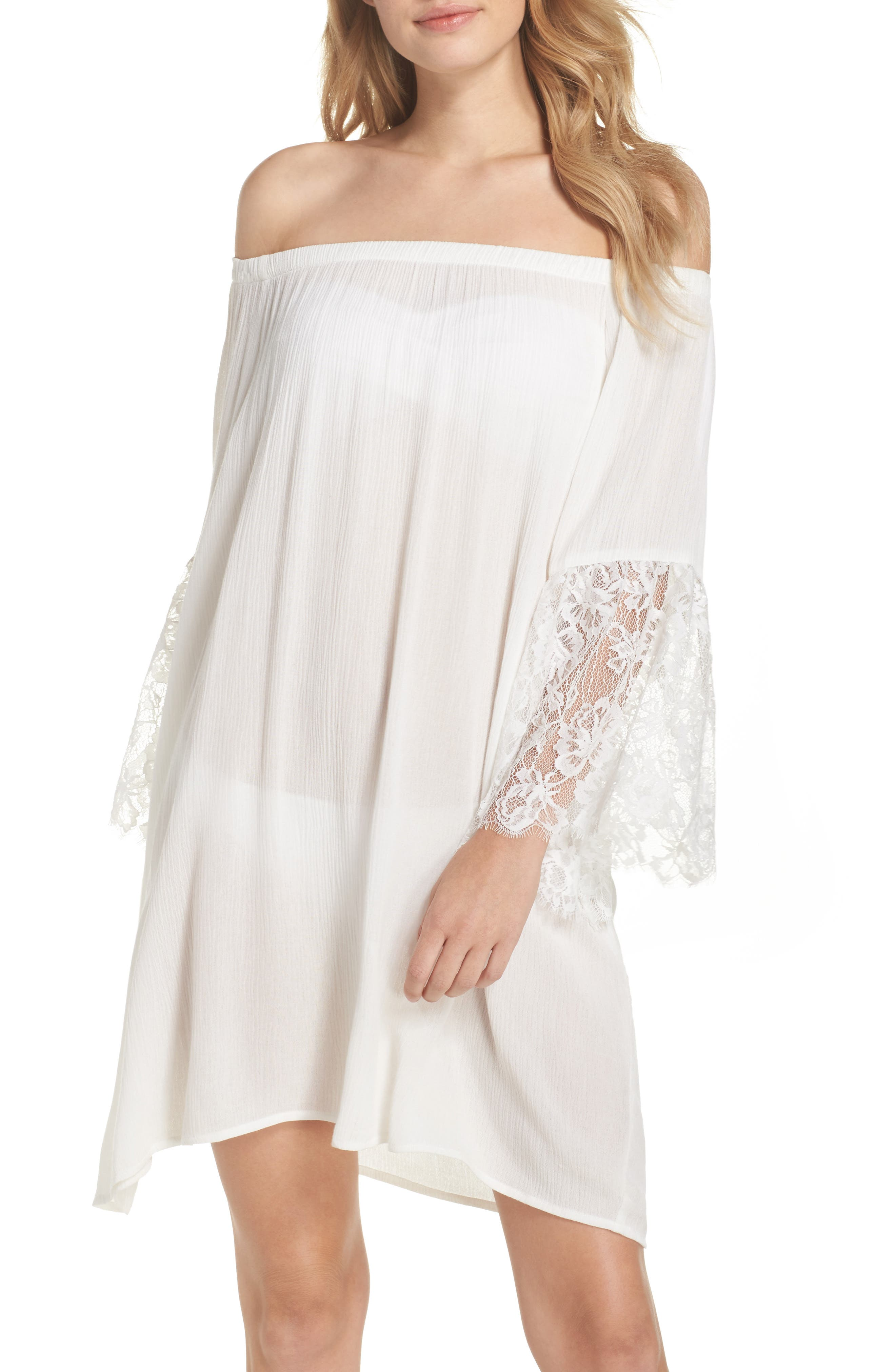 Off the Shoulder Cover-Up Dress,                             Main thumbnail 1, color,                             Ivory Egret
