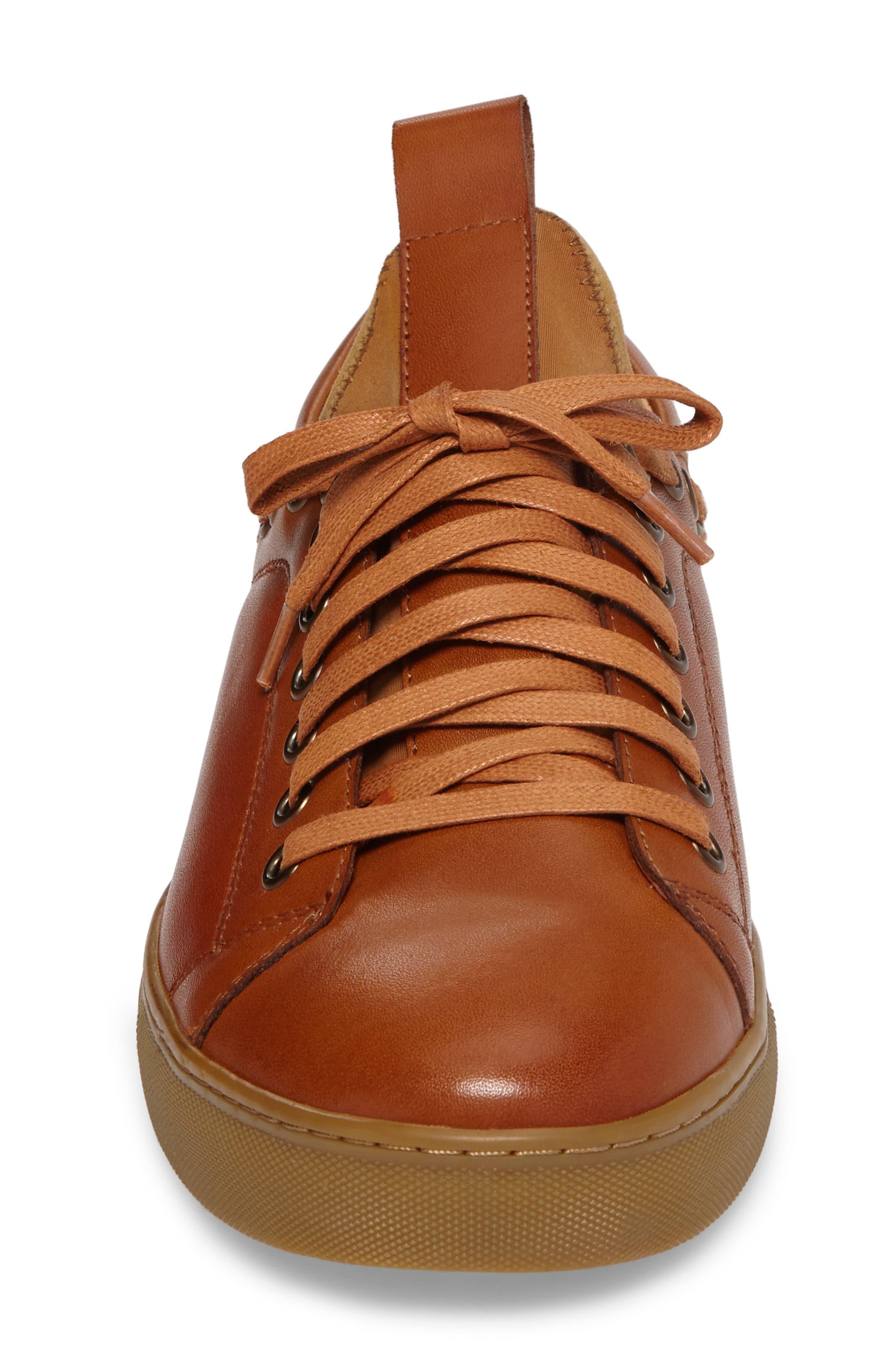 Owen Sneaker,                             Alternate thumbnail 4, color,                             Cognac Leather