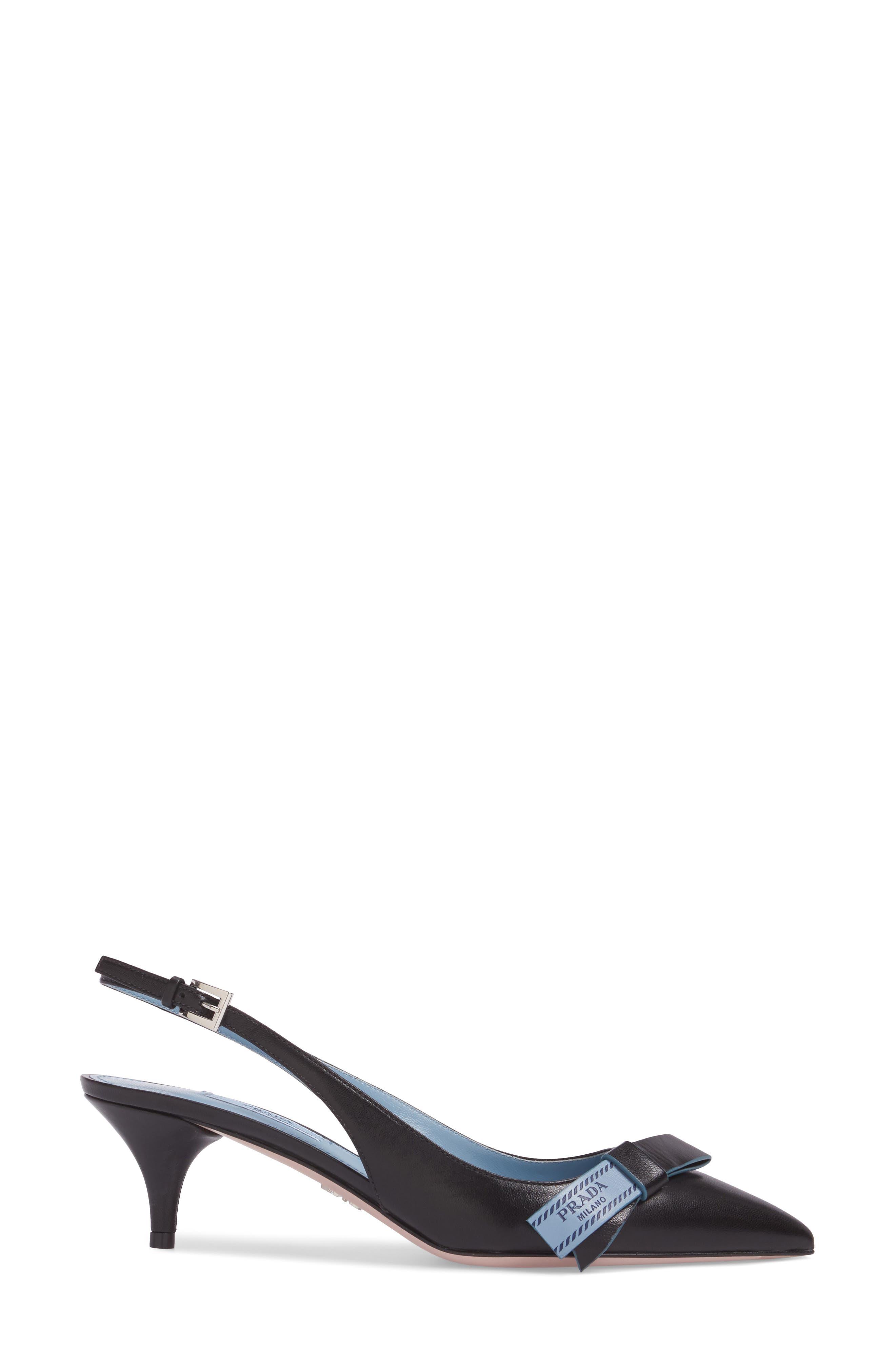 Logo Bow Slingback Pump,                             Alternate thumbnail 3, color,                             Black