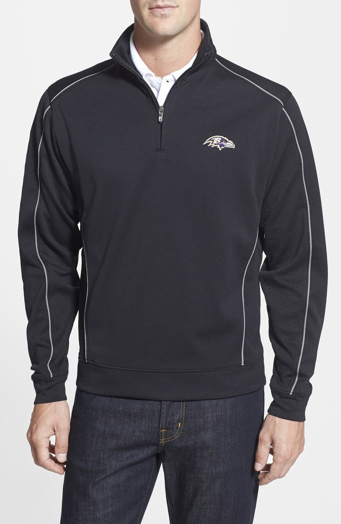 Main Image - Cutter & Buck Baltimore Ravens - Edge DryTec Moisture Wicking Half Zip Pullover