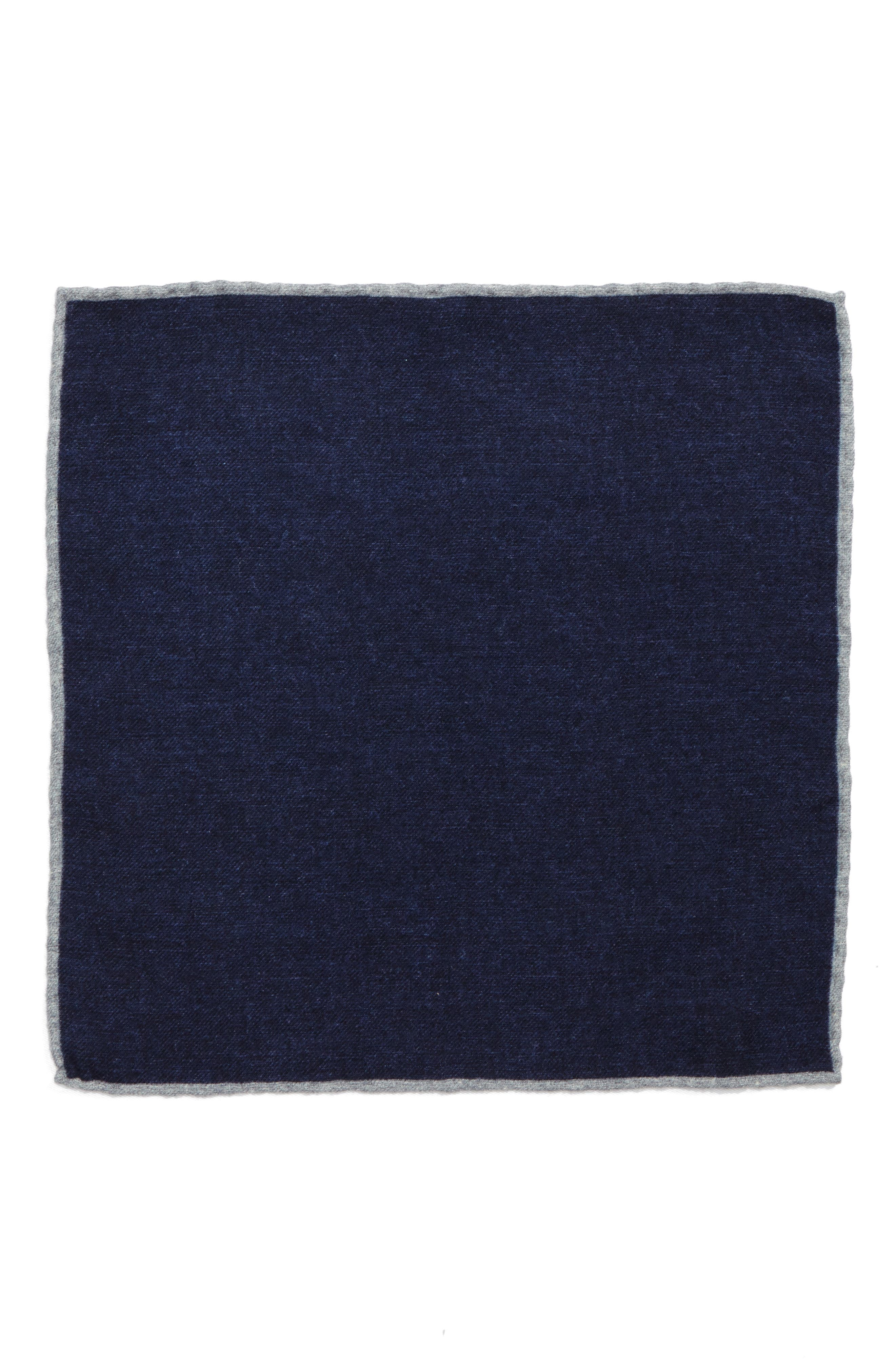 Flannel Wool Pocket Square,                             Alternate thumbnail 2, color,                             Blue