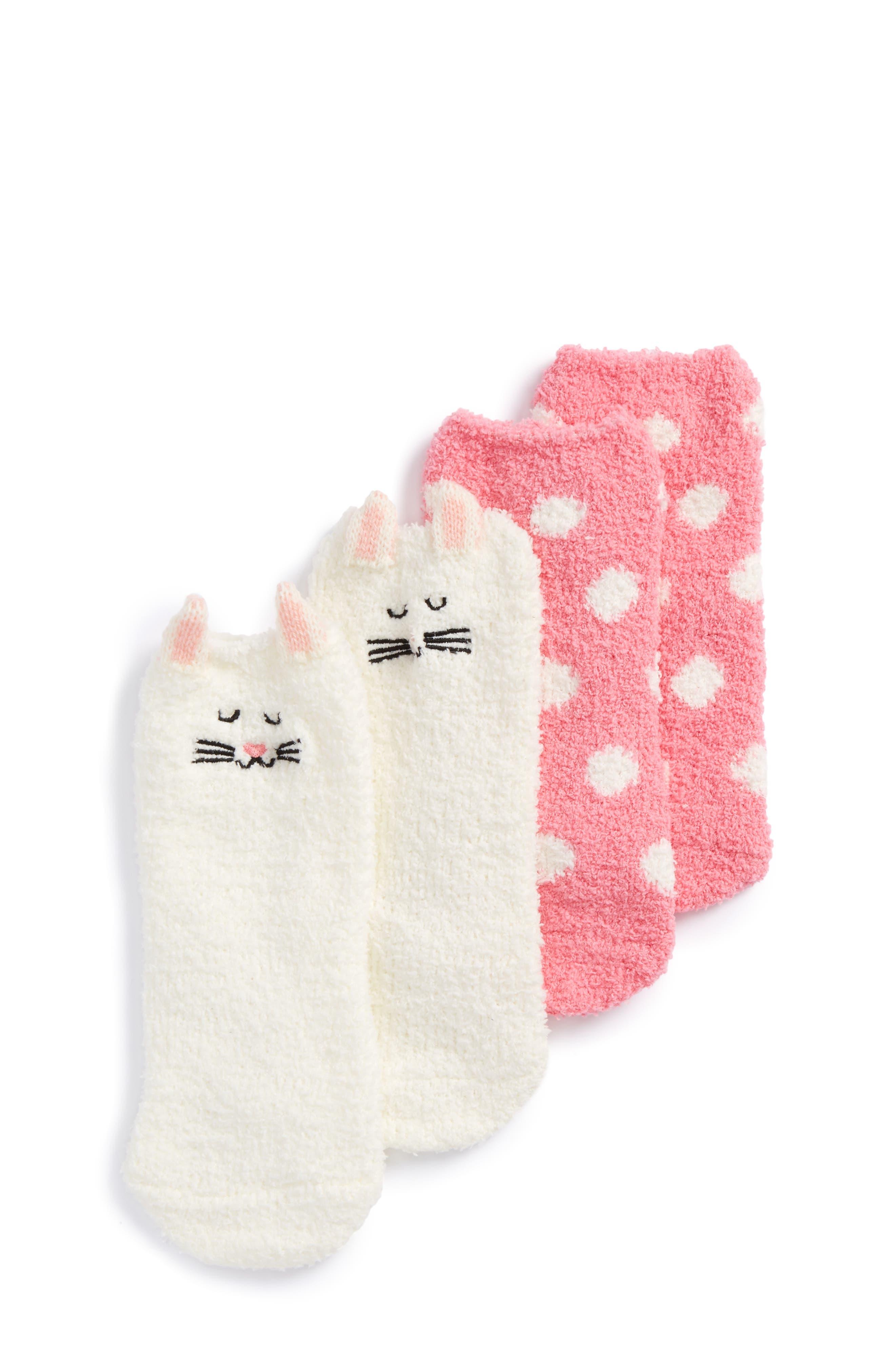 Tucker + Tate Assorted 2-Pack Plush Critter Socks (Toddler, Little Kid & Big Kid)