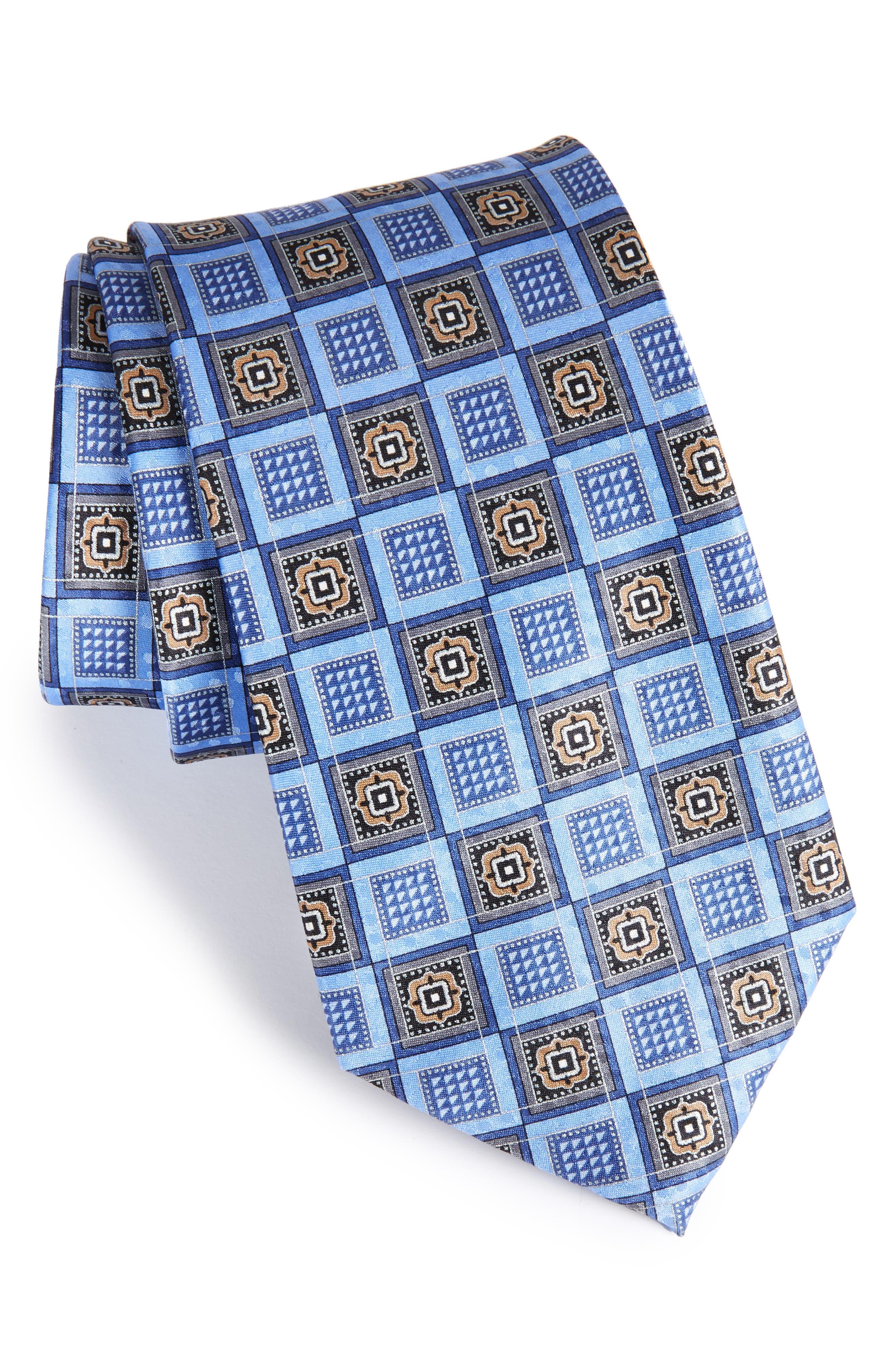 Geo Silk Tie,                             Main thumbnail 1, color,                             Blue