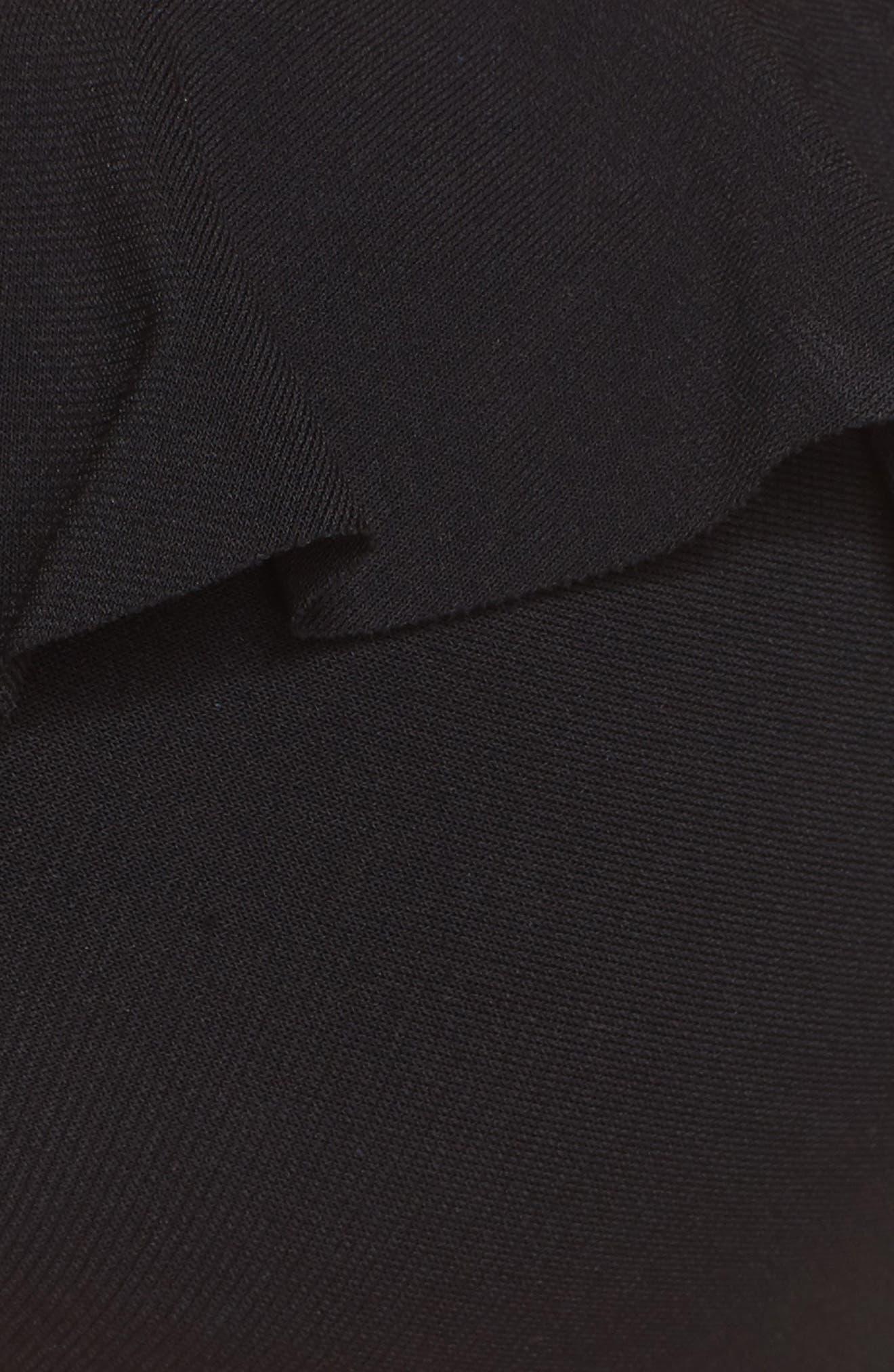 Lina Ruffle Bandeau Bikini Top,                             Alternate thumbnail 6, color,                             Black