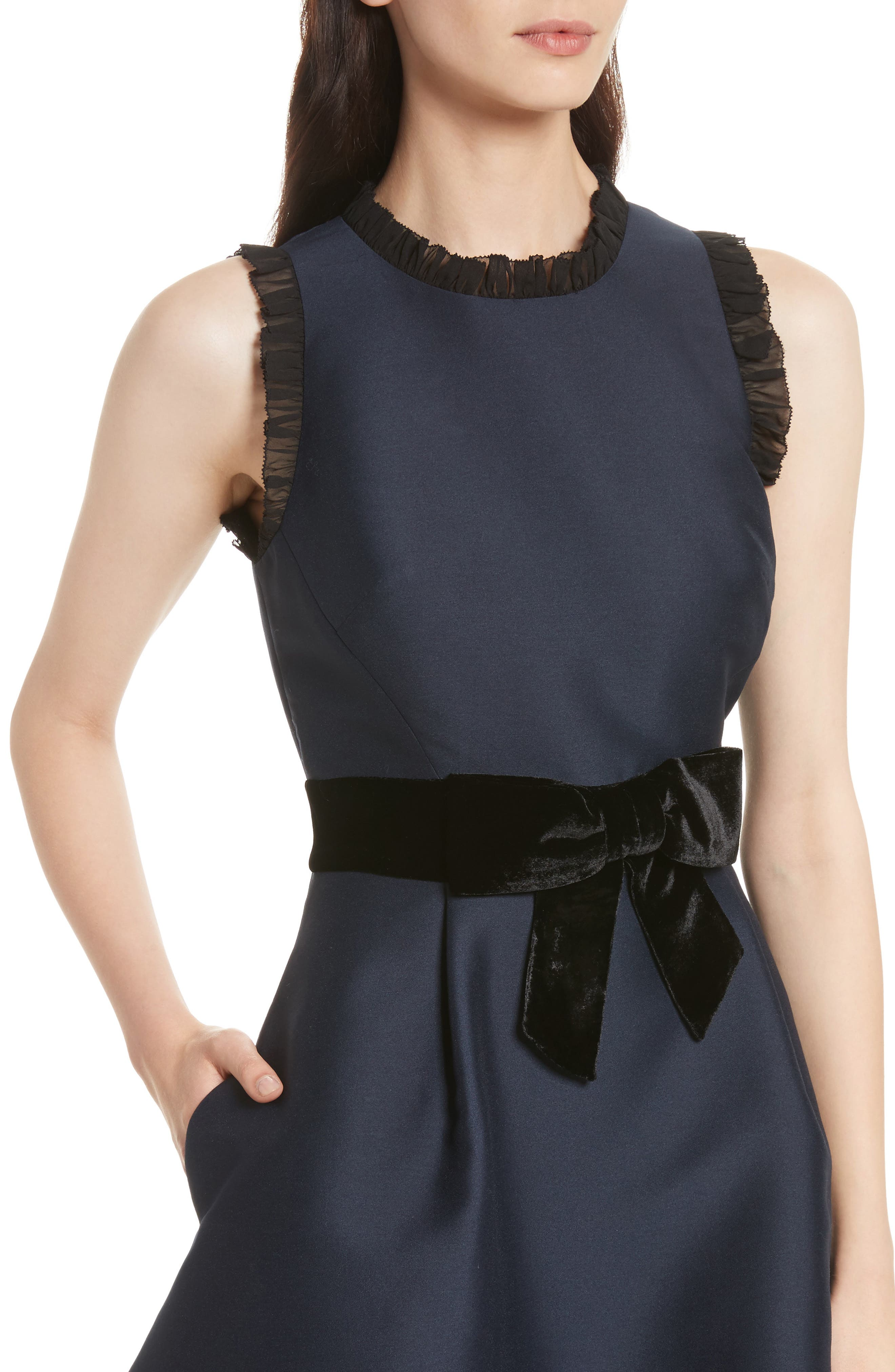 velvet bow fit & flare dress,                             Alternate thumbnail 4, color,                             Rich Navy