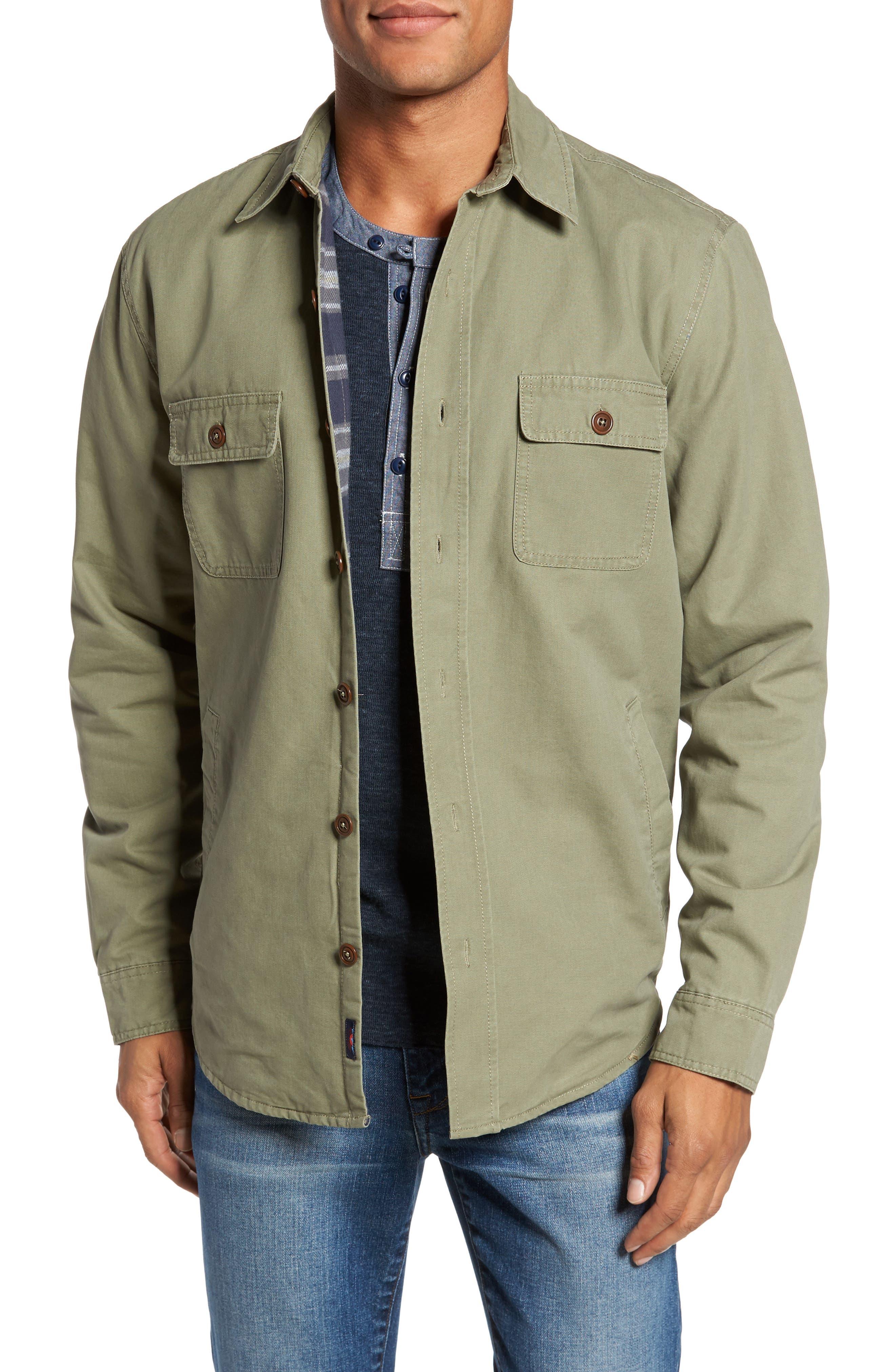 Blanket Lined Shirt Jacket,                         Main,                         color, Olive
