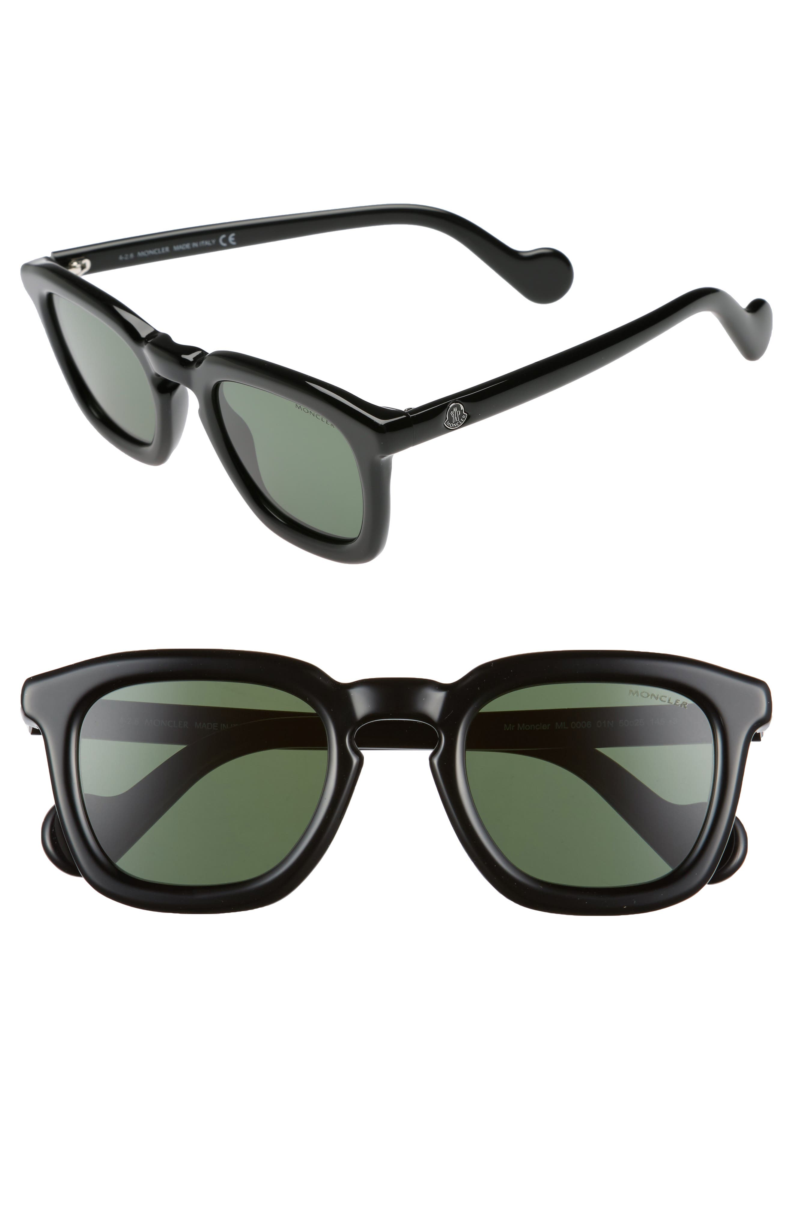 50mm Square Sunglasses,                             Main thumbnail 1, color,                             Black/ Green