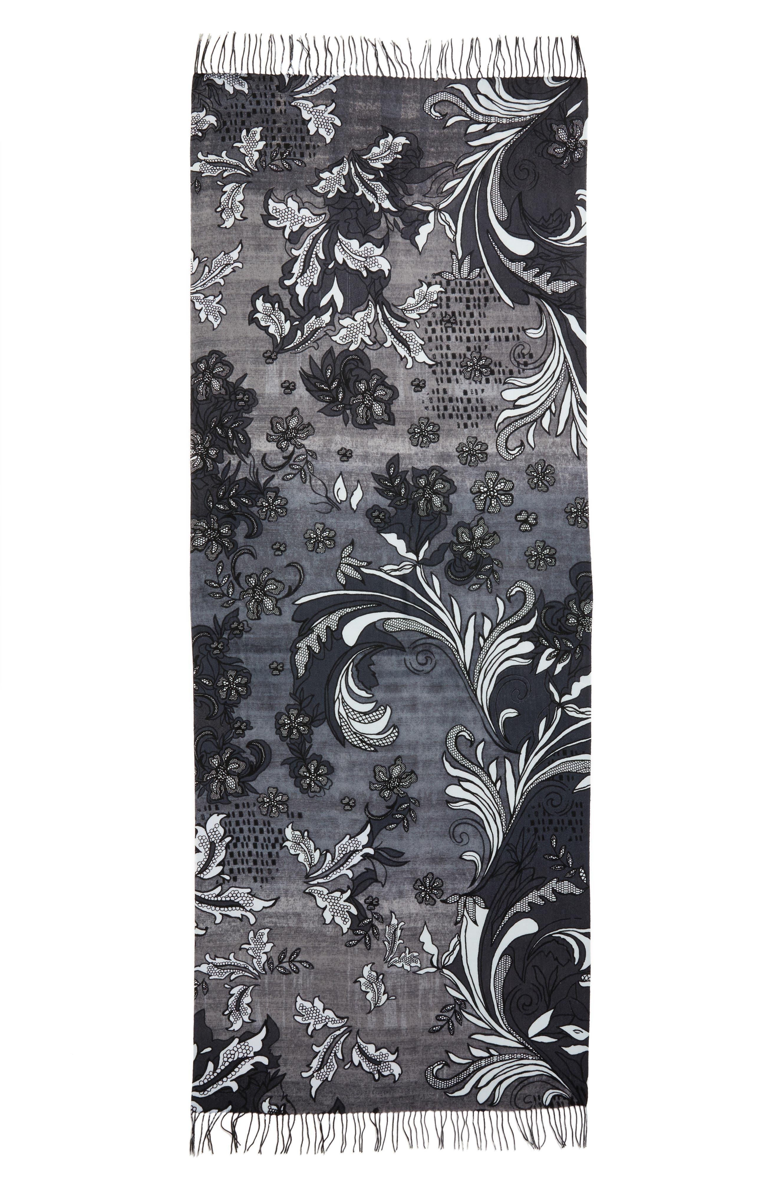 Alternate Image 2  - Nordstrom Viennese Floral Tissue Wool & Cashmere Scarf