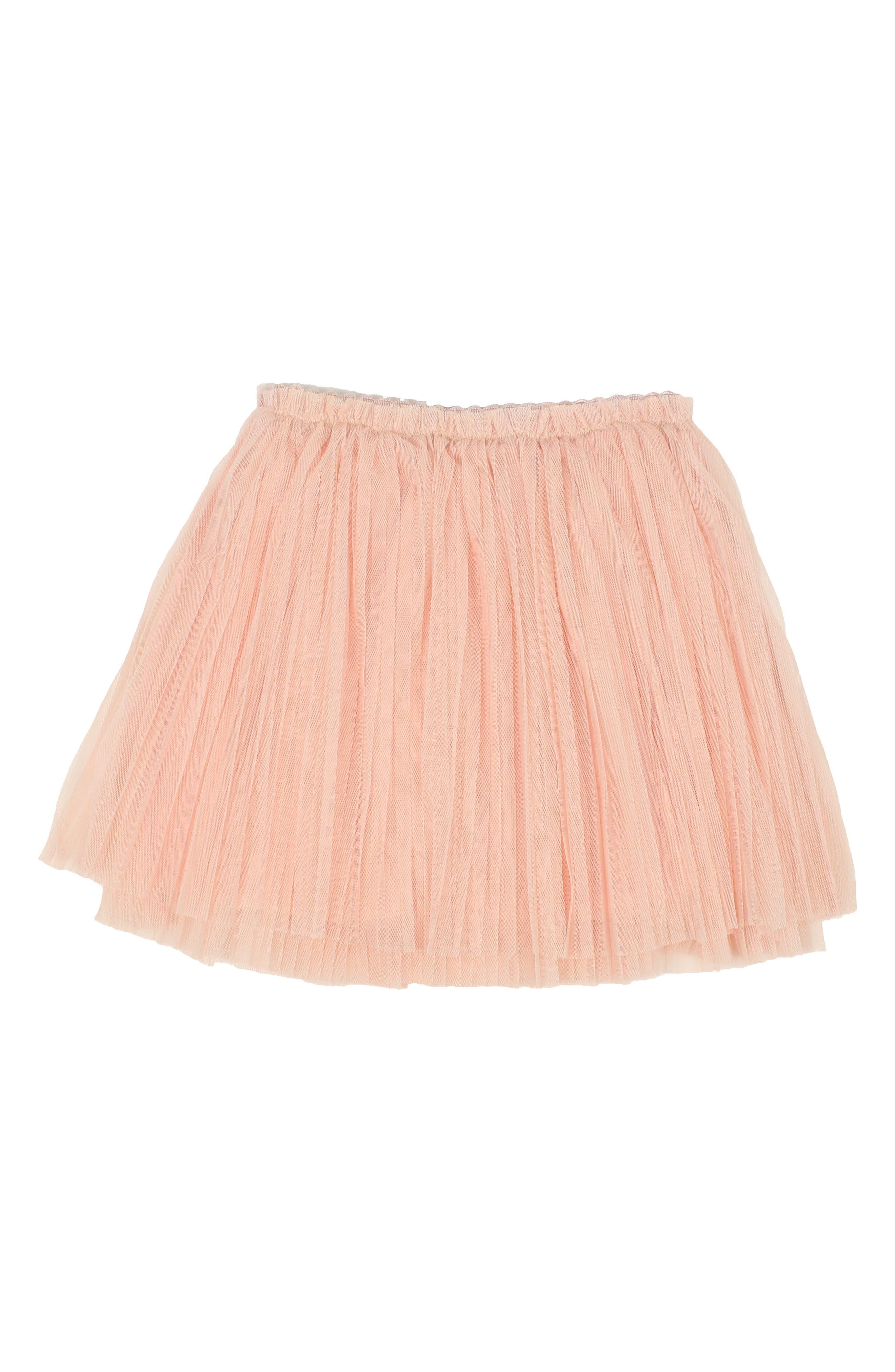 Pleated Tulle Skirt,                         Main,                         color, Peach