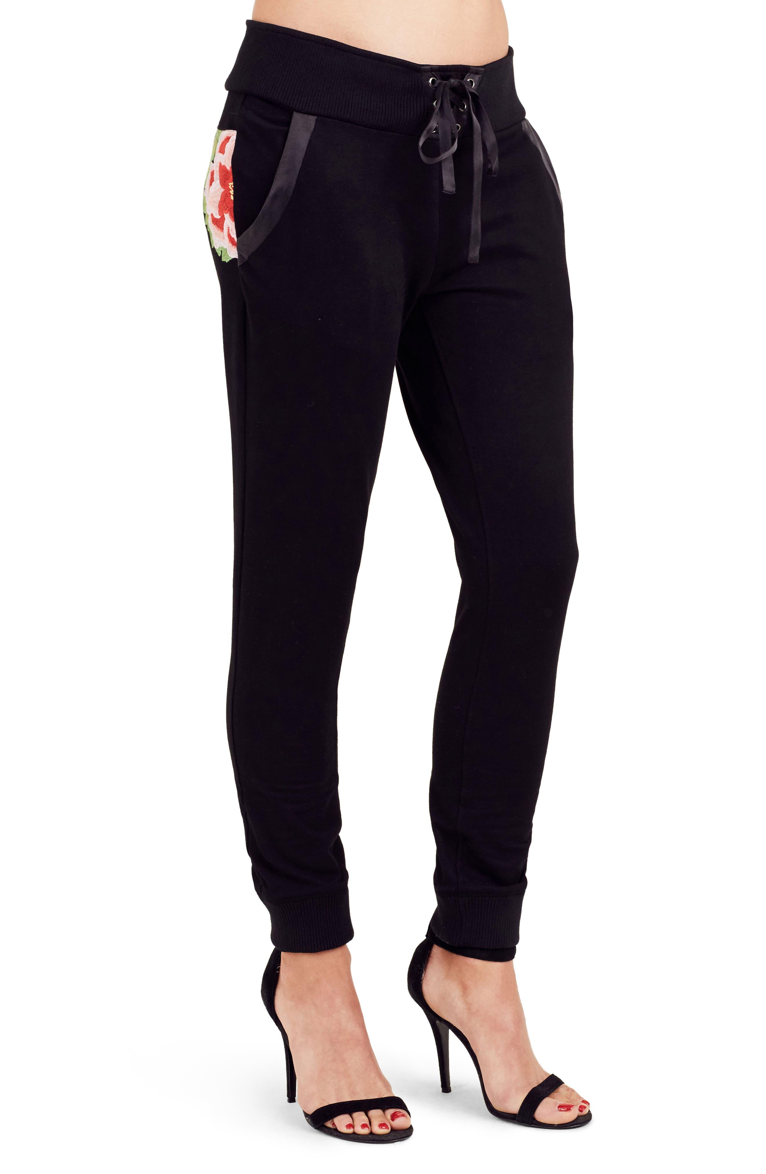 Embroidered Jogger Pants,                             Alternate thumbnail 3, color,                             Black