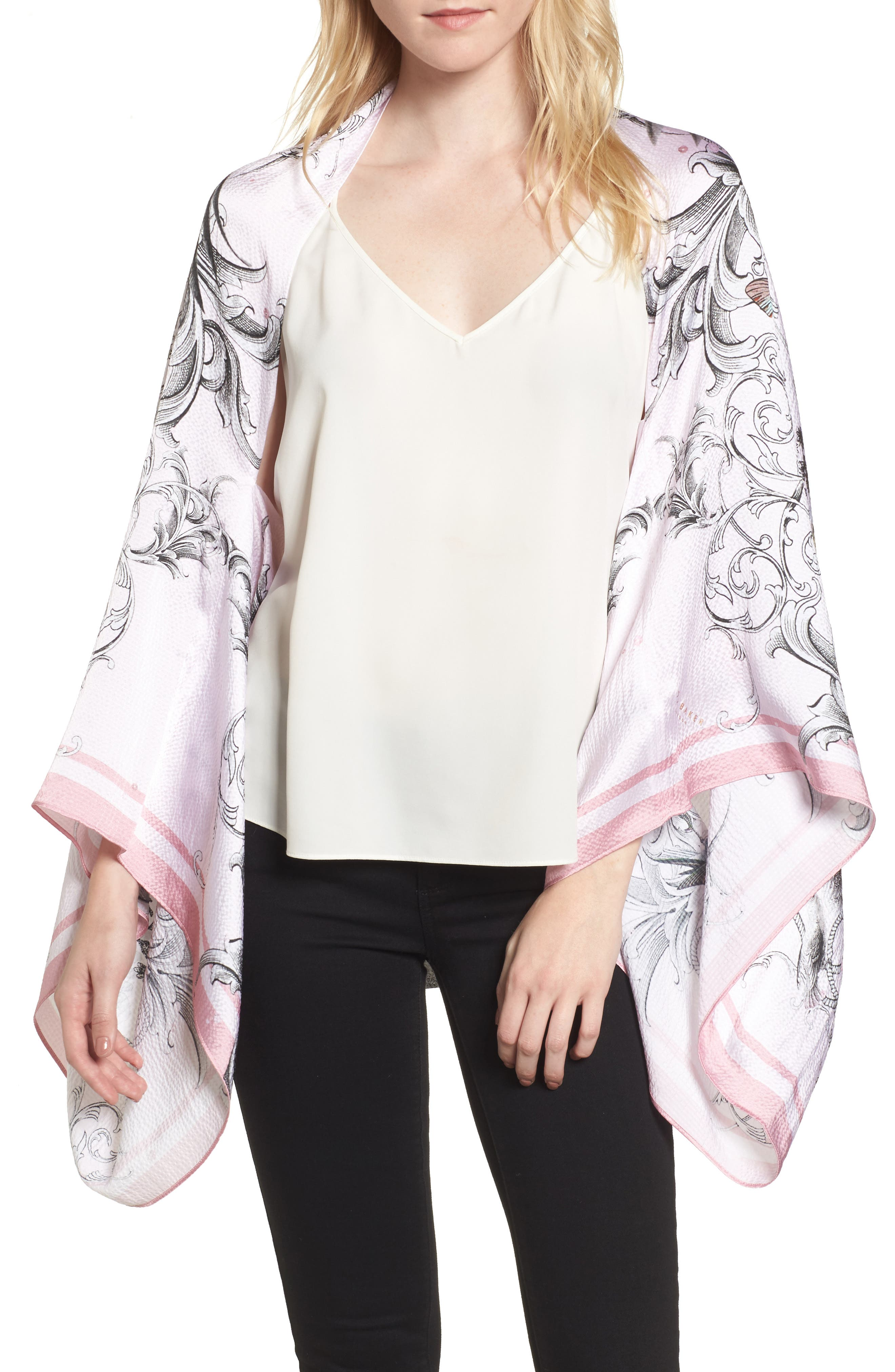 Enchanted Dream Silk Cape Scarf,                         Main,                         color, 59-Pale Pink