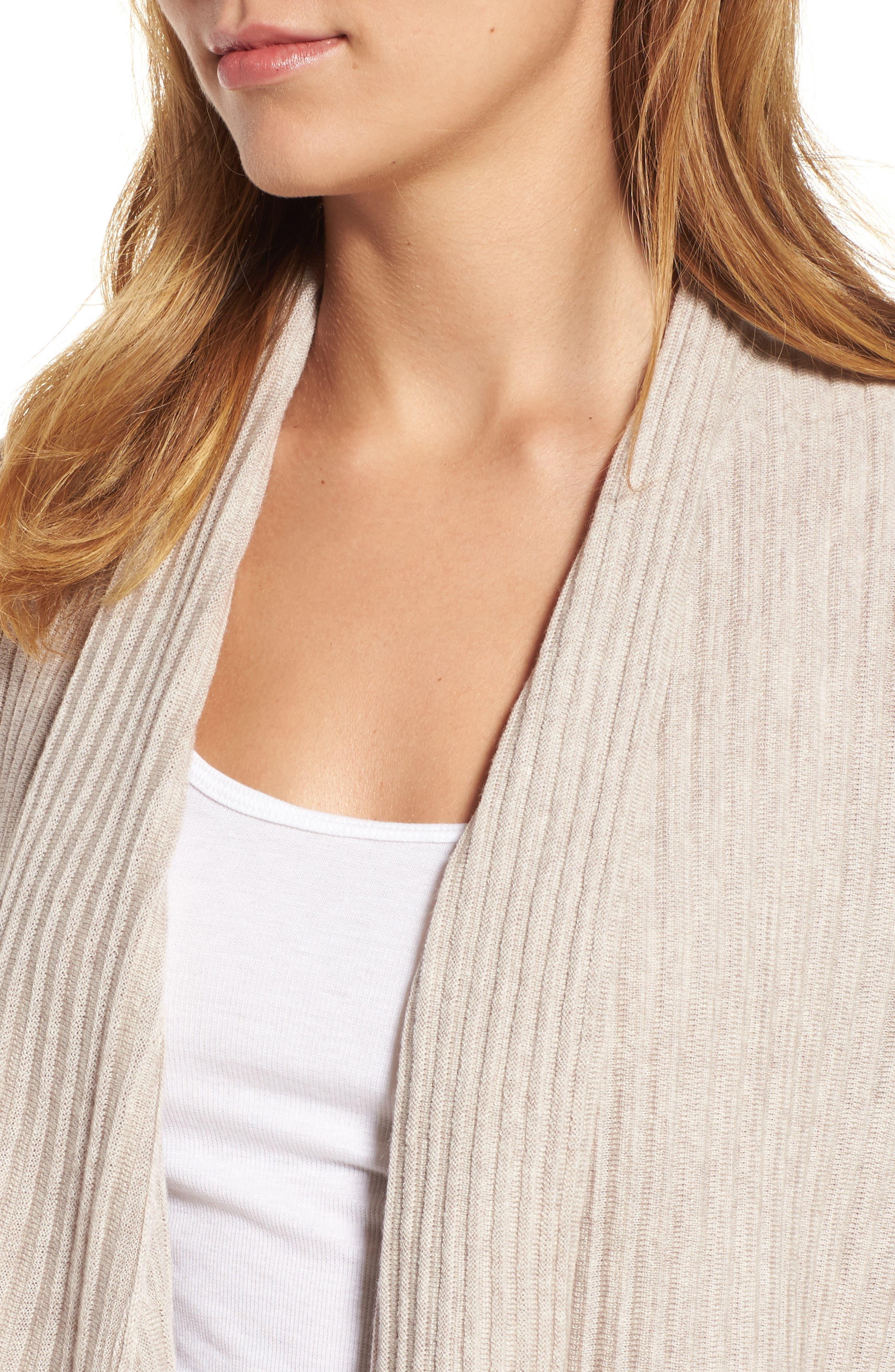 Ribbed Merino Wool Long Cardigan,                             Alternate thumbnail 4, color,                             Maple Oat