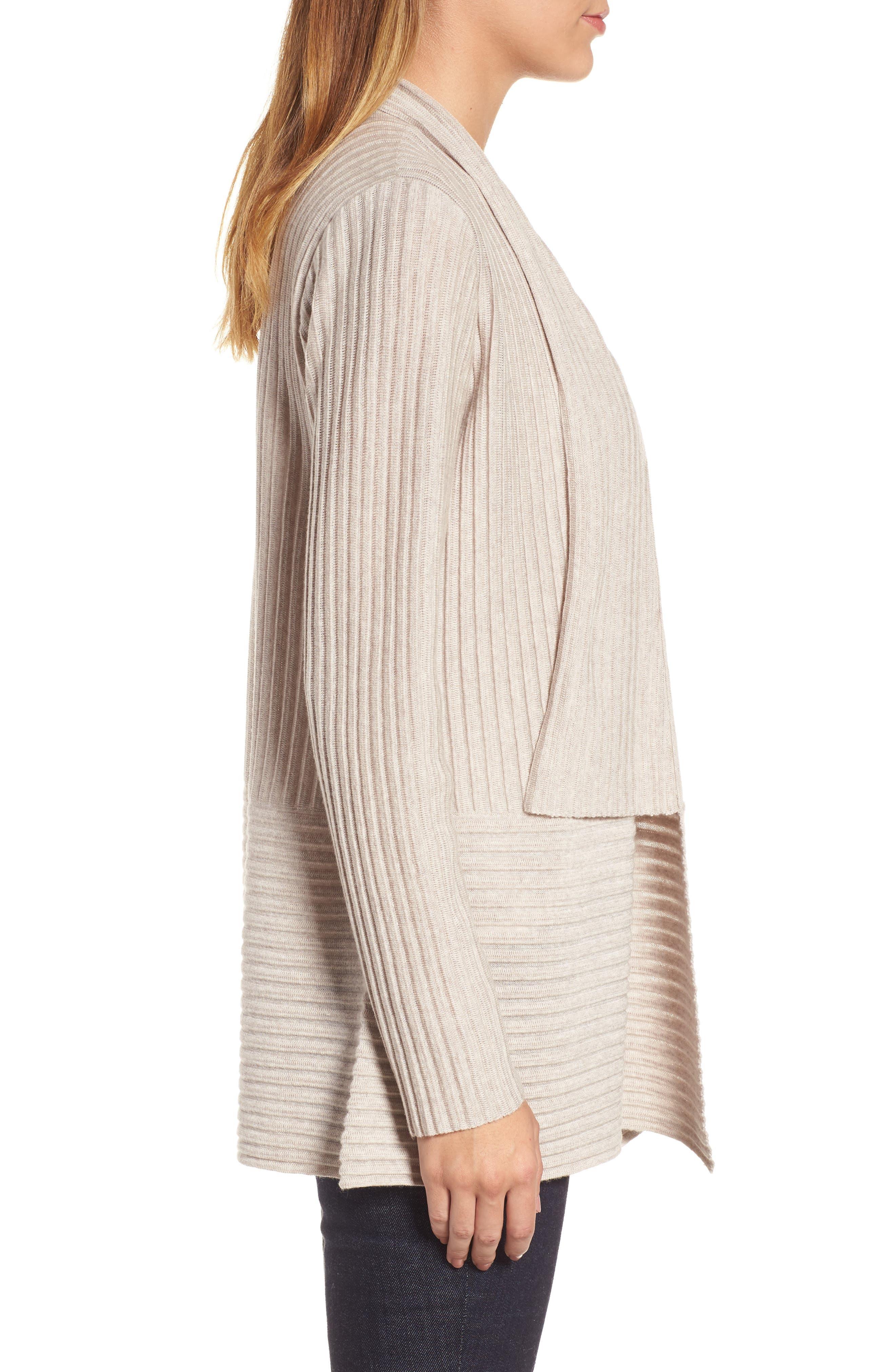 Ribbed Merino Wool Long Cardigan,                             Alternate thumbnail 3, color,                             Maple Oat