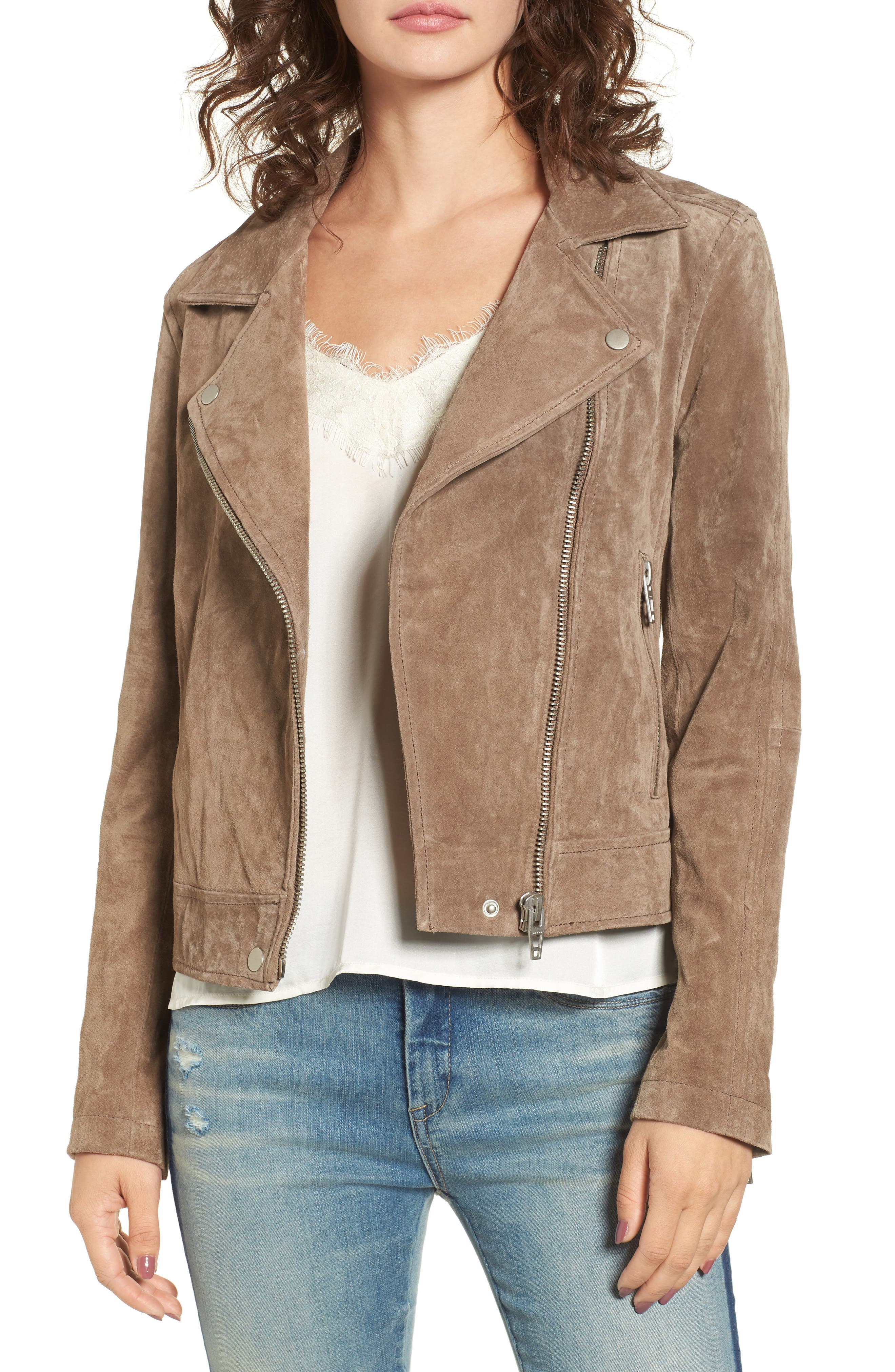 Suede Moto Jacket,                             Main thumbnail 1, color,                             Midnight Toker