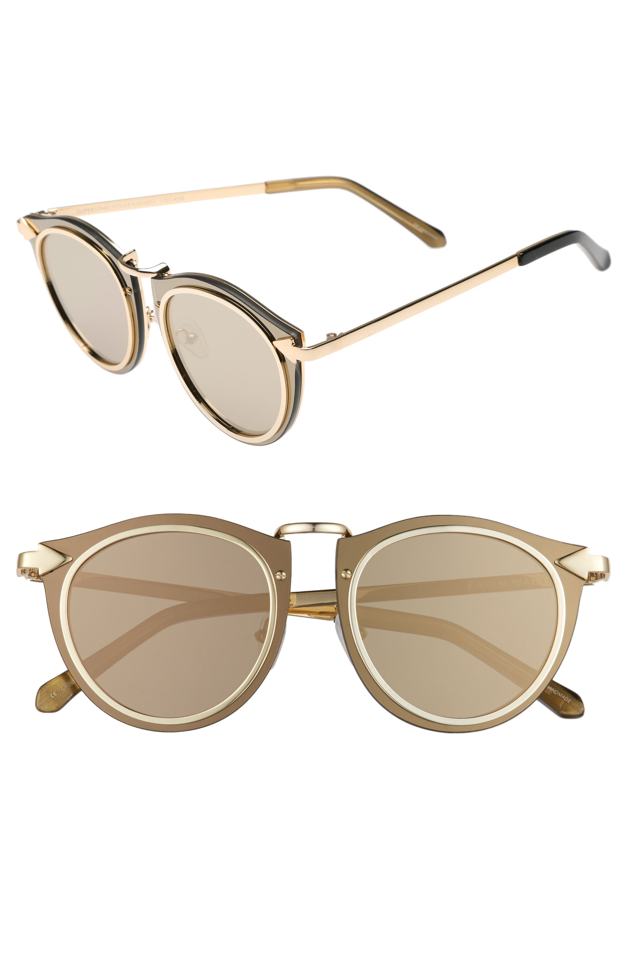 Superstars - Solar 50mm Retro Sunglasses,                             Main thumbnail 1, color,                             Gold