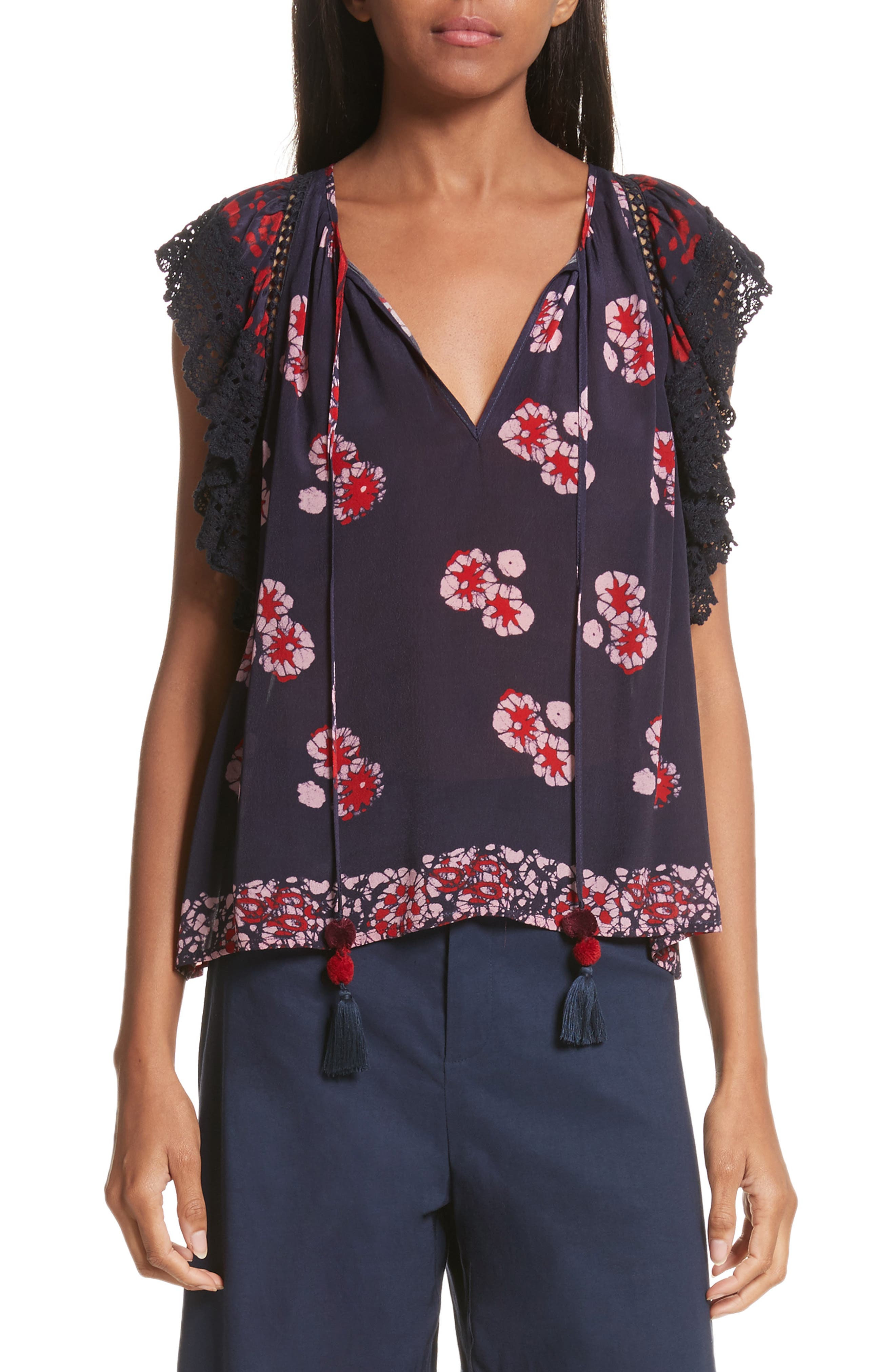 Print Ruffle Sleeve Top,                         Main,                         color, Red Multi